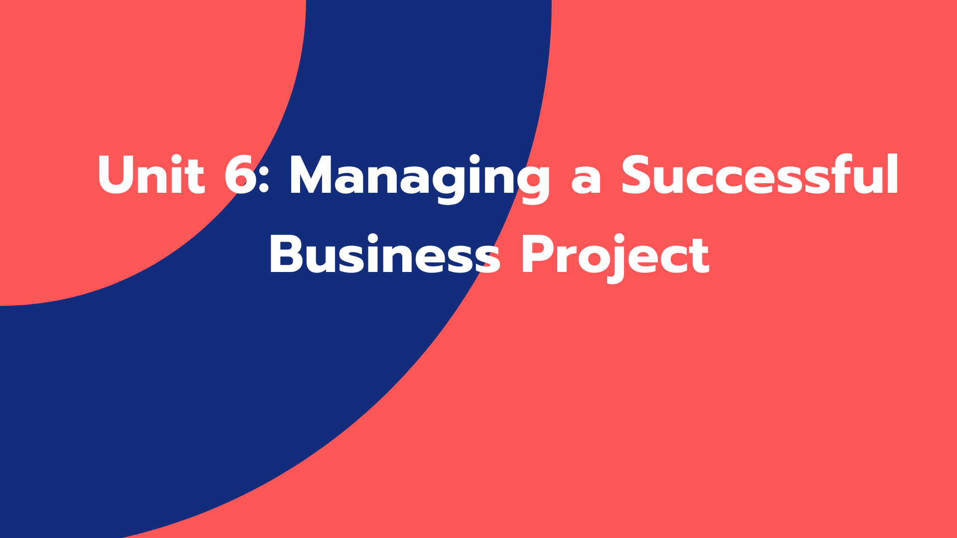Unit 6: Managing a Successful Business Project