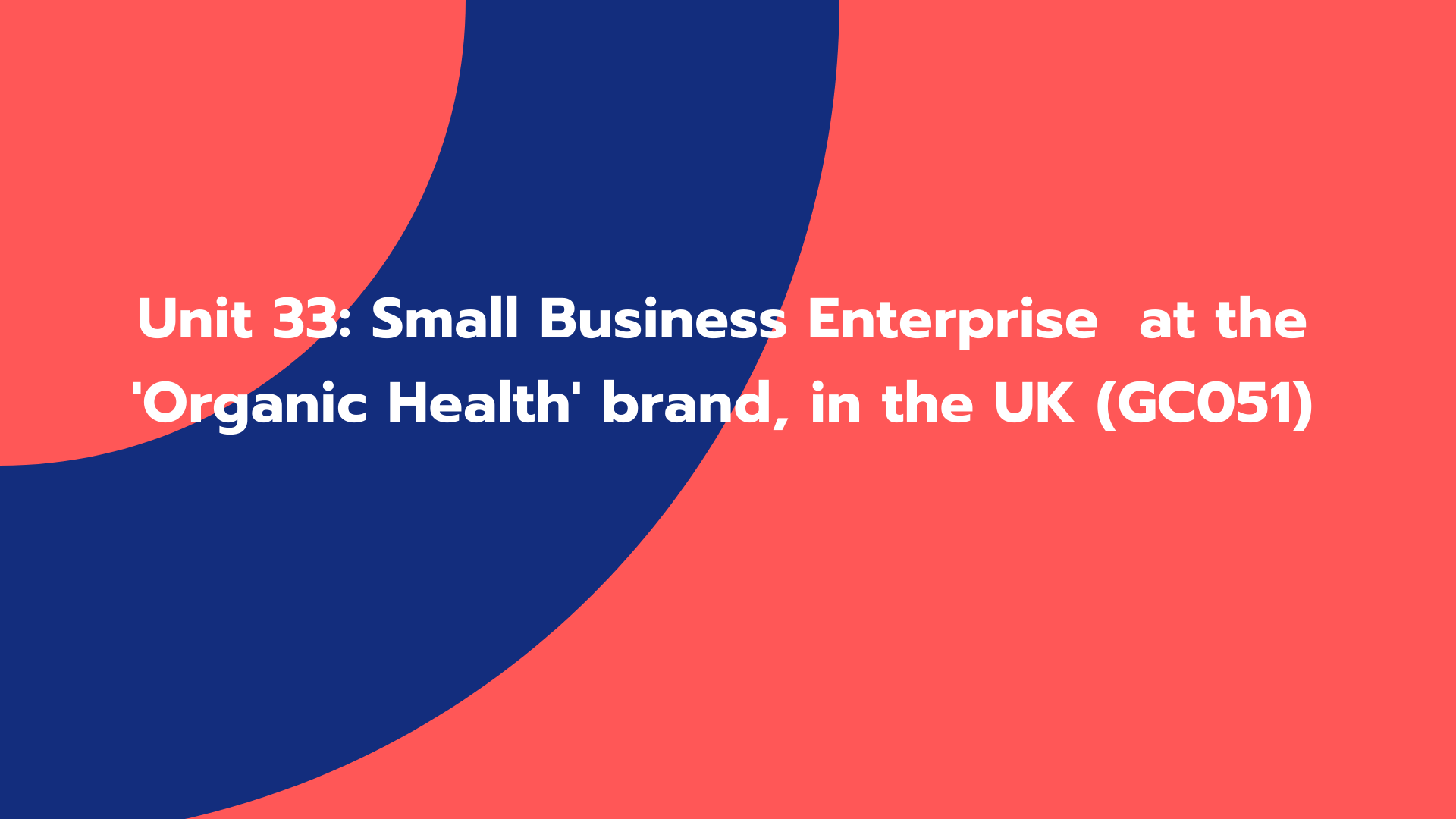 Unit 33: Small Business Enterprise at the 'Organic Health' brand, in the UK (GC051)