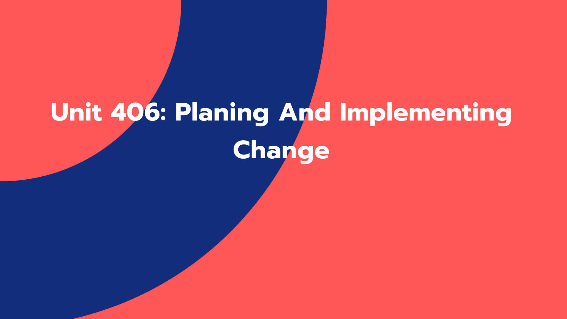 Unit 406: Planing And Implementing Change