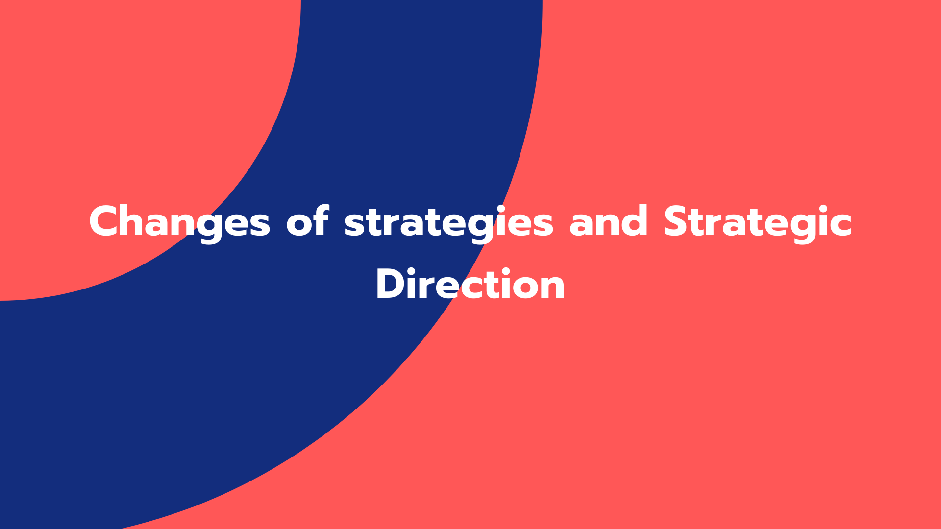 Changes of strategies and Strategic Direction