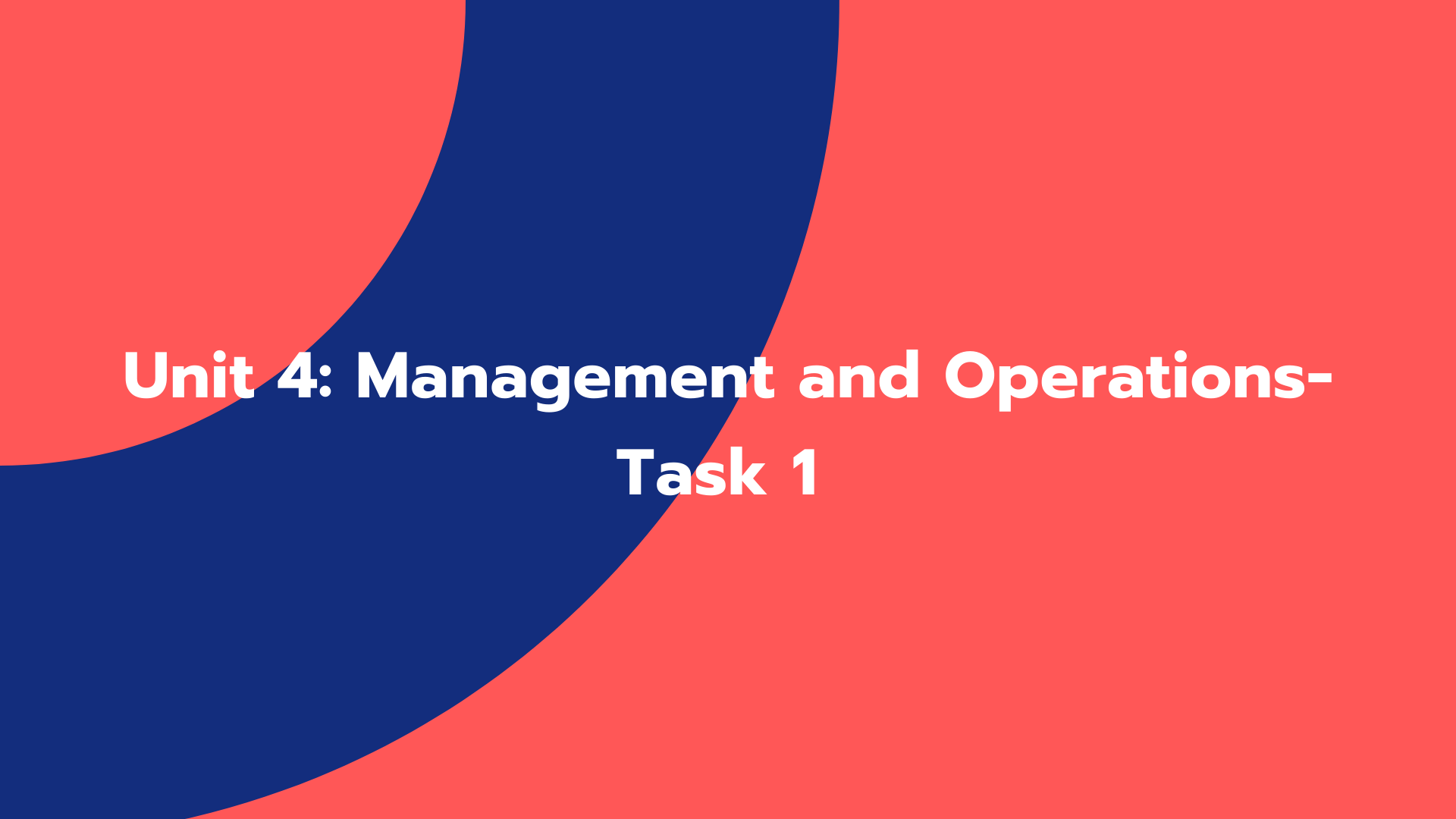 Unit 4: Management and Operations- Task 1