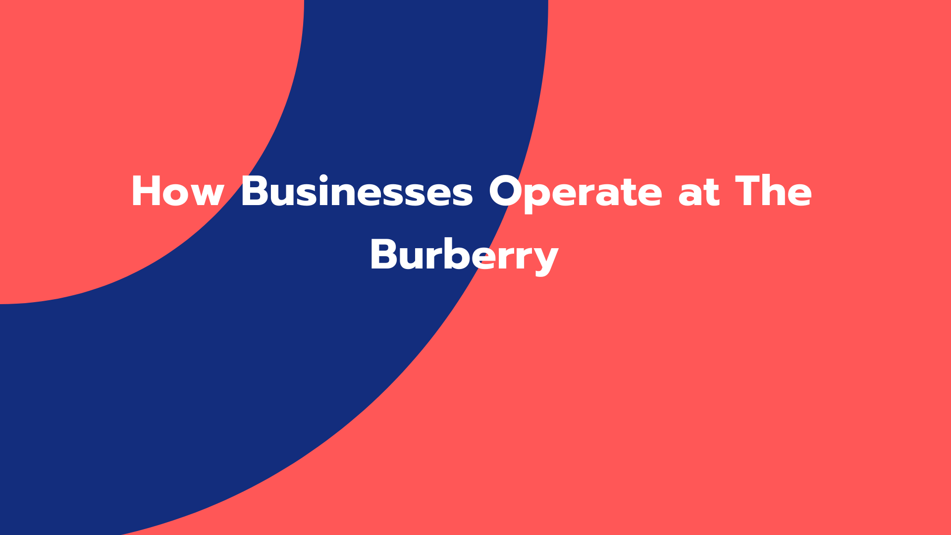 How Businesses Operate at The Burberry (