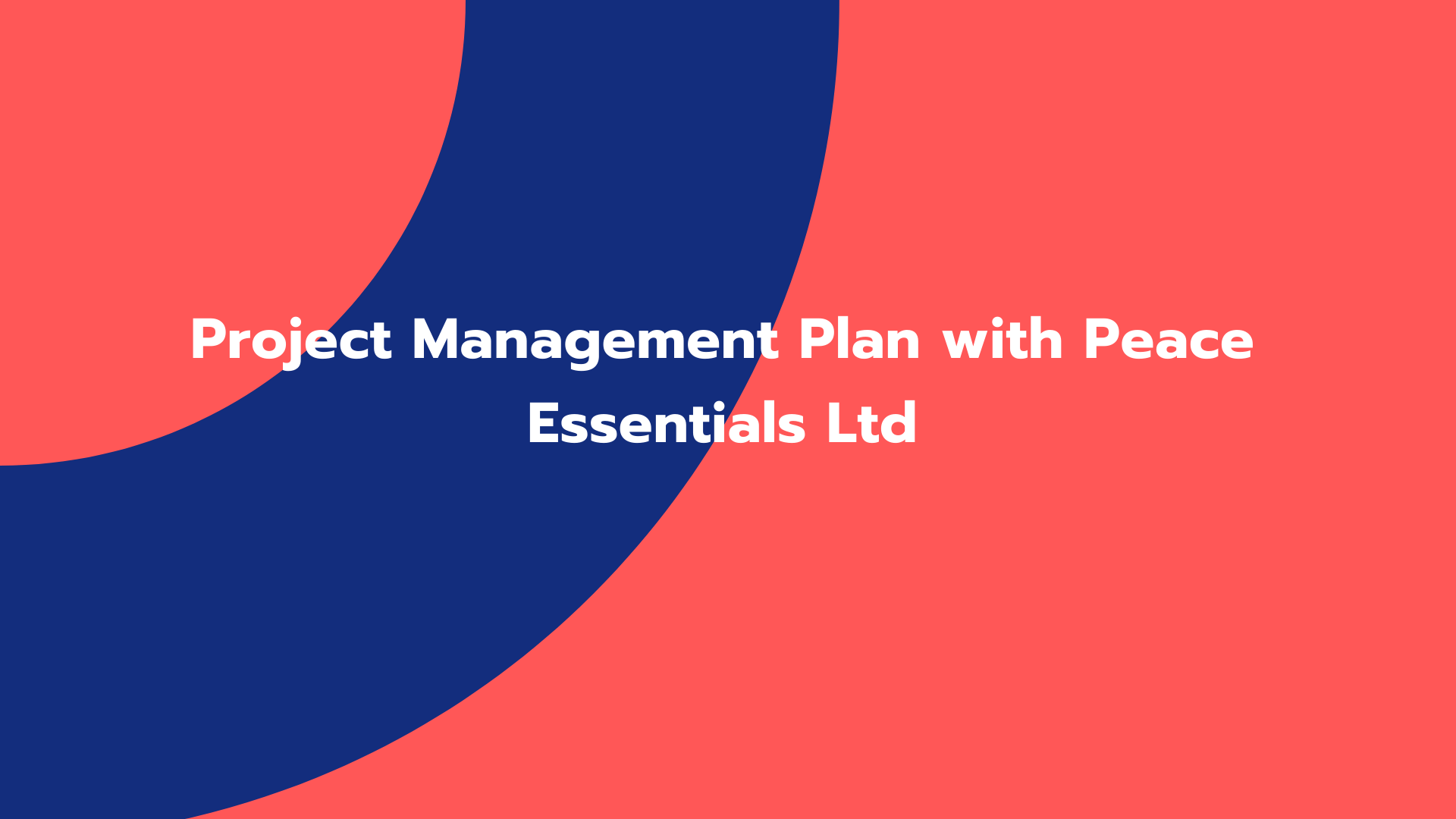 Project Management Plan with Peace Essentials Ltd