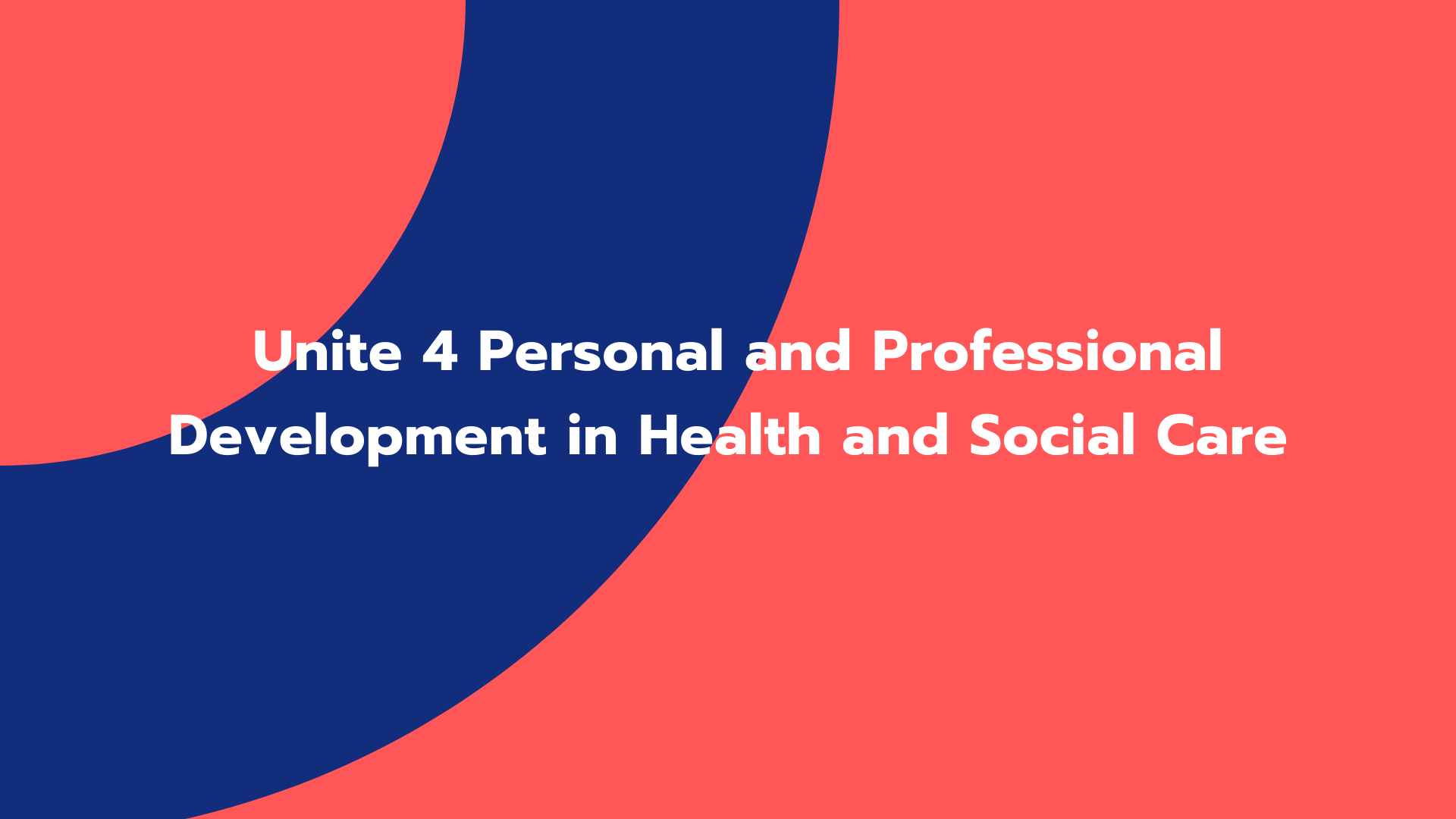 Unite 4 Personal and Professional Development in Health and Social Care