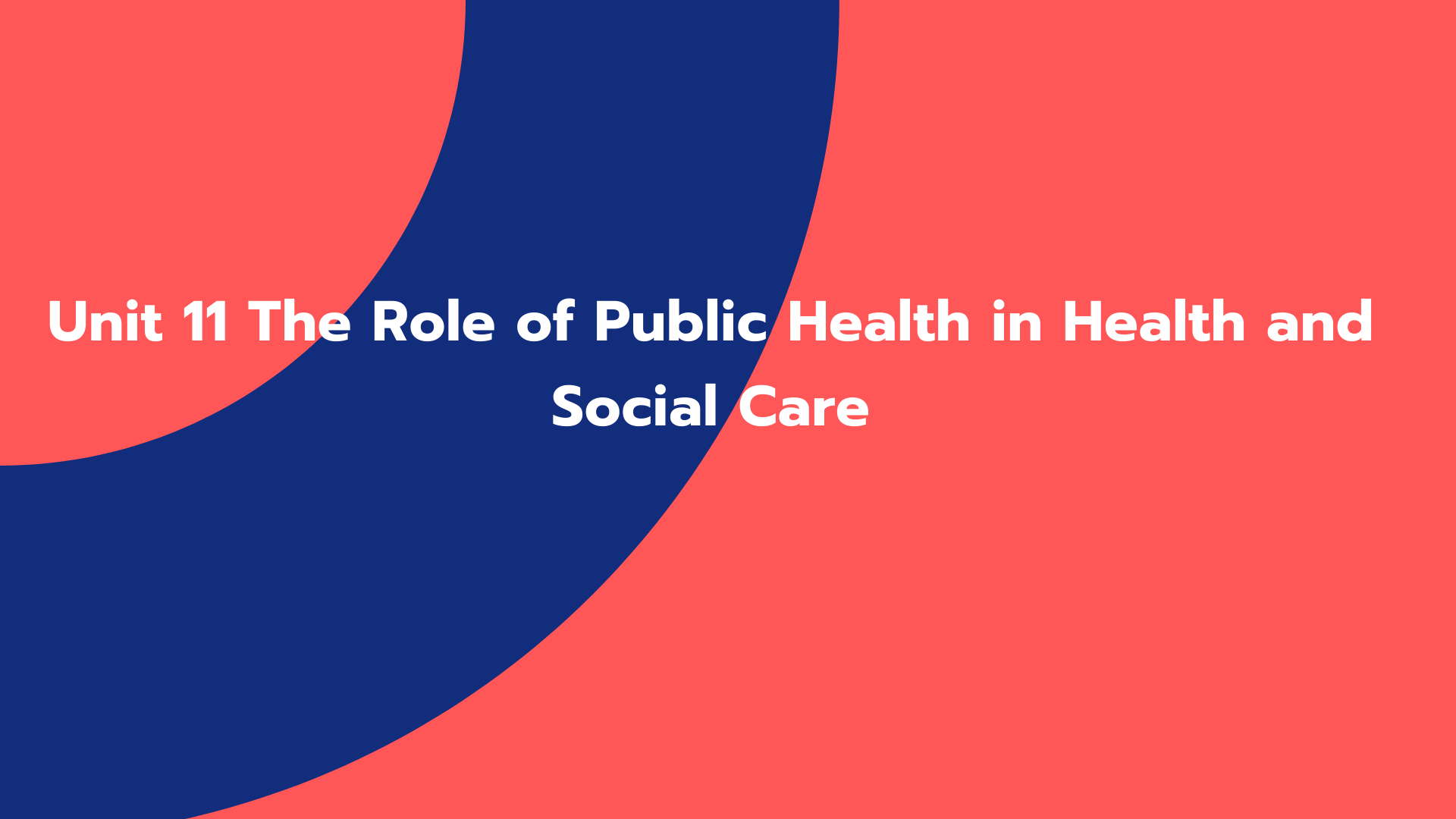 Unit 11 The Role of Public Health in Health and Social Care