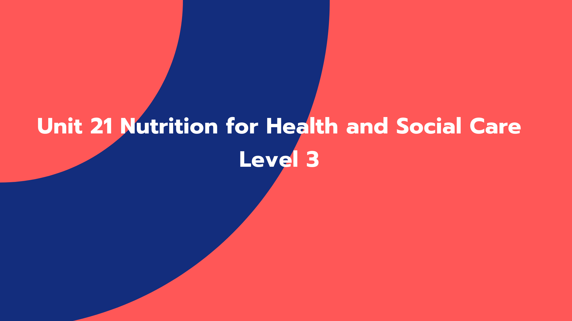 Unit 21 Nutrition for Health and Social Care Level 3