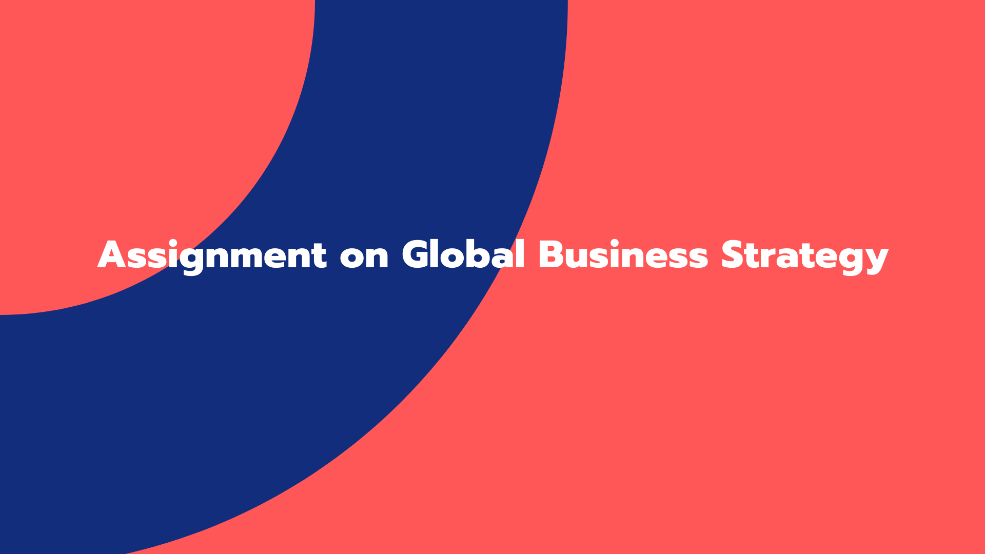 Assignment on Global Business Strategy
