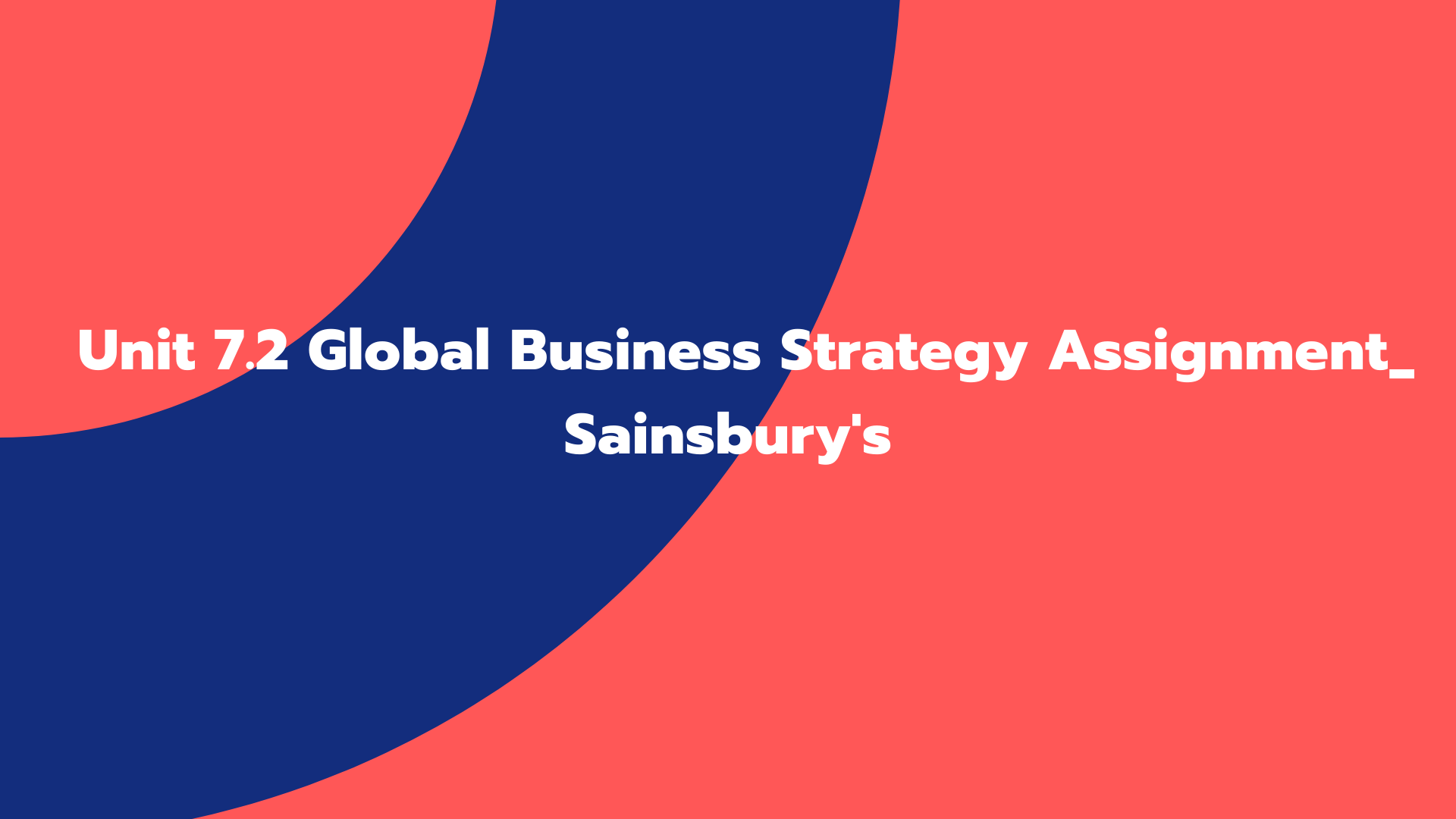 Unit 7.2 Global Business Strategy Assignment_ Sainsbury's