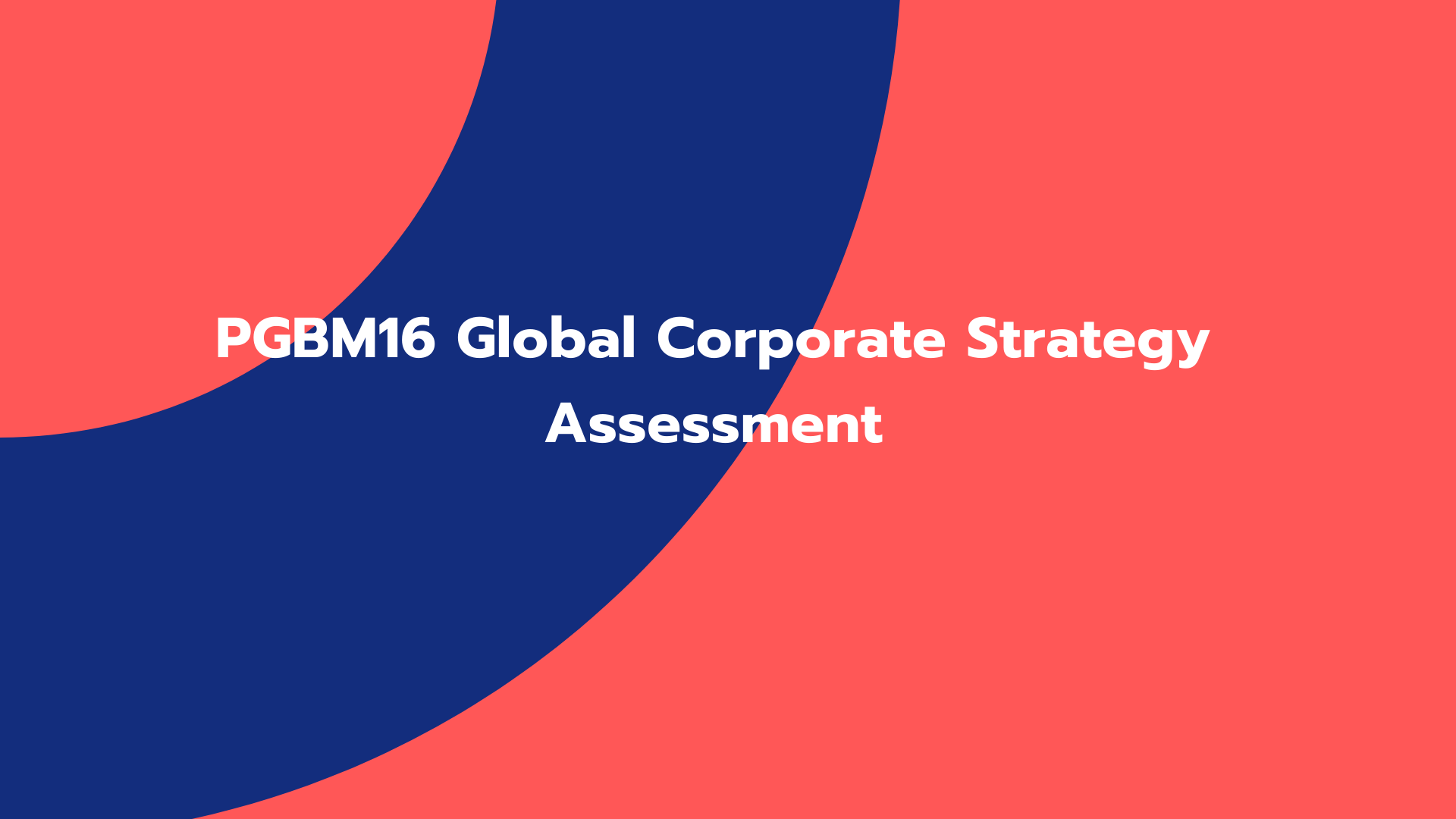PGBM16 Global Corporate Strategy Assessment