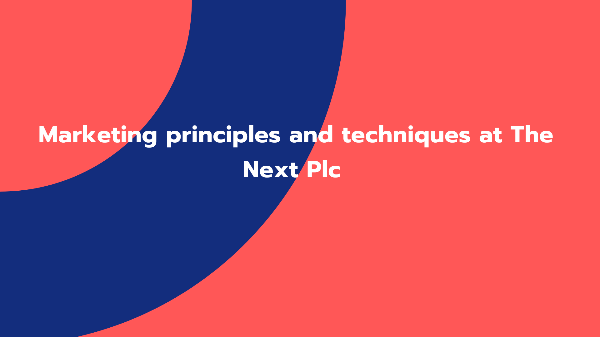 Marketing principles and techniques at The Next Plc