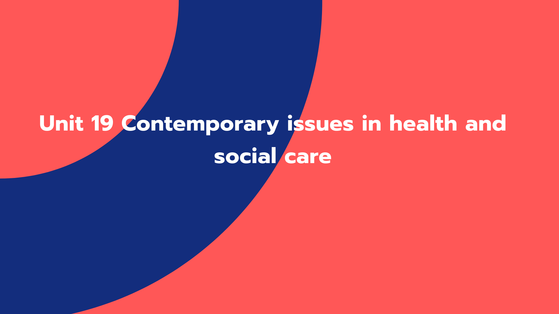Unit 19 Contemporary issues in health and social care