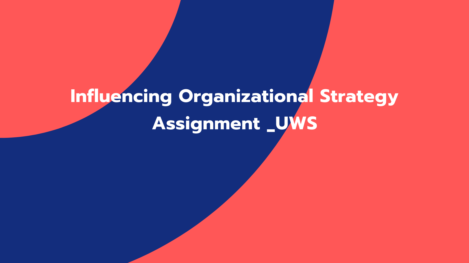 Influencing Organizational Strategy Assignment _UWS