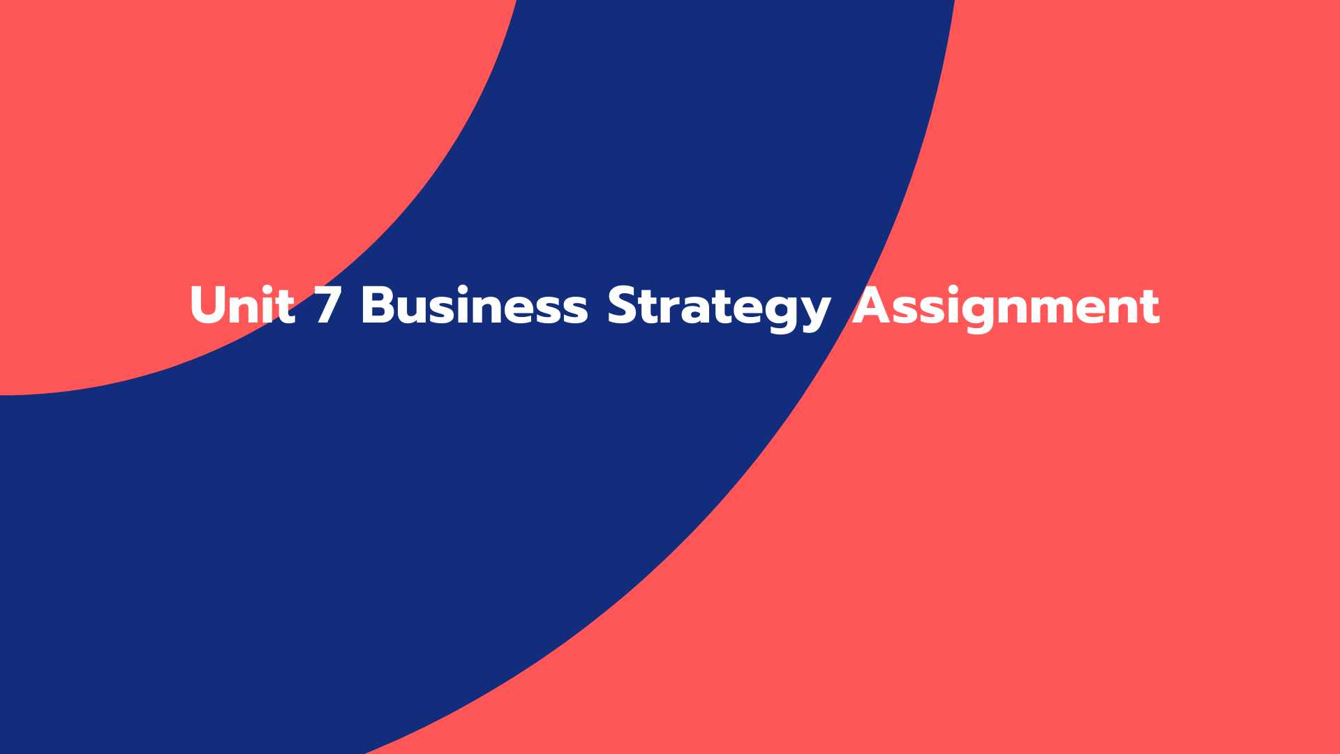 Unit 7 Business Strategy Assignment
