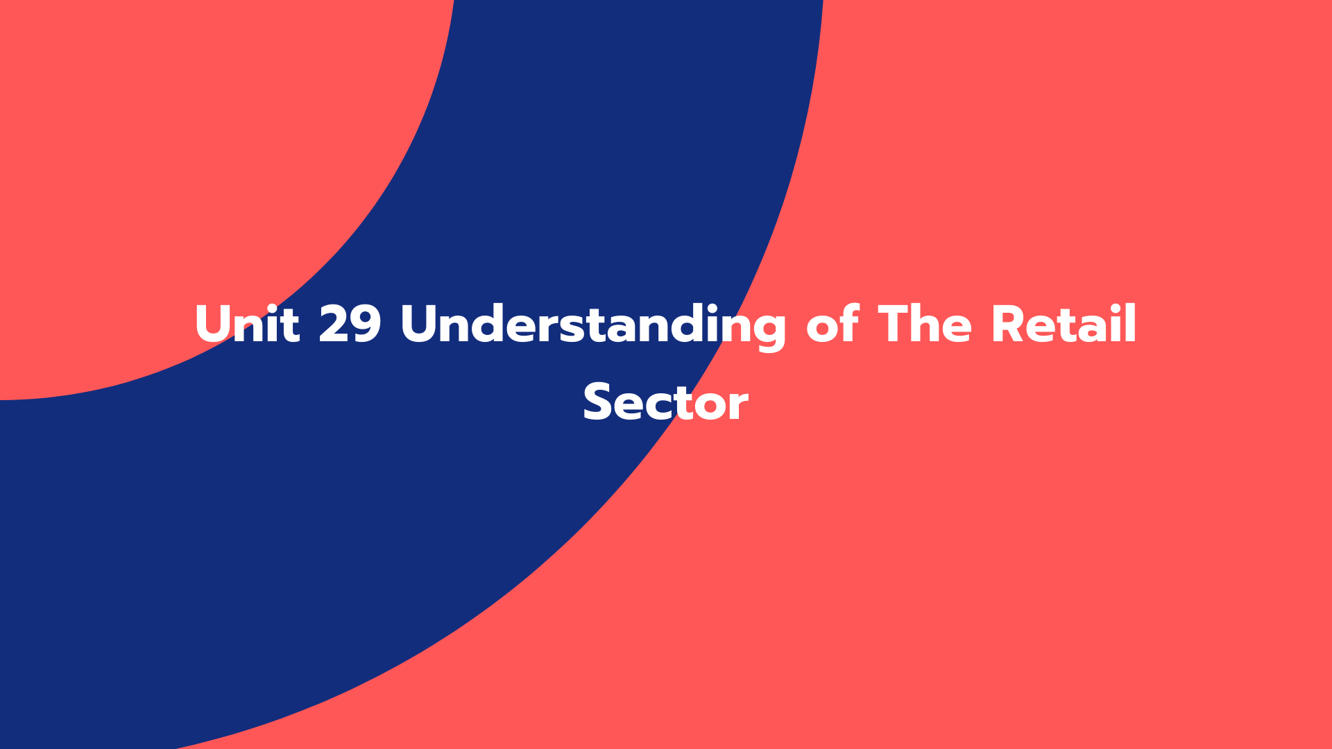 Unit 29 Understanding of The Retail Sector