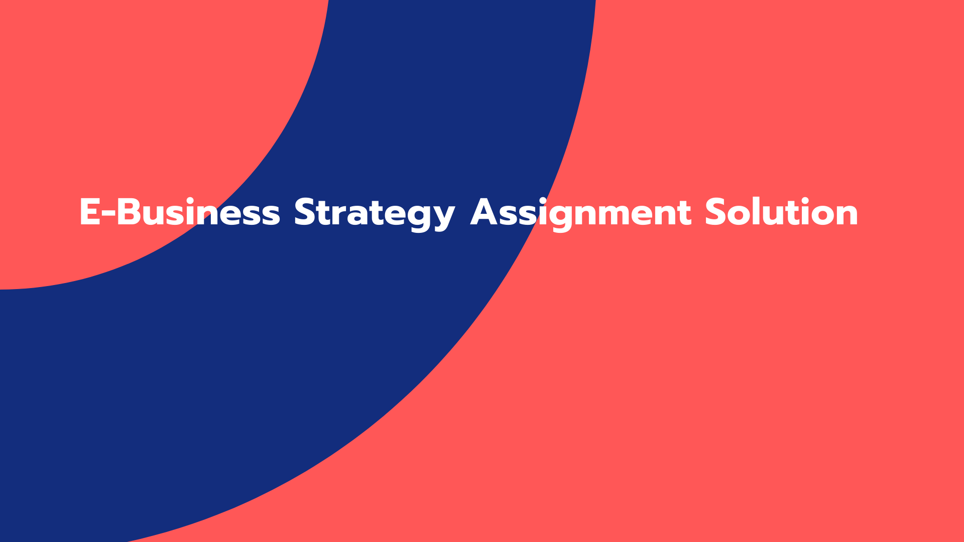 E-Business Strategy Assignment Solution