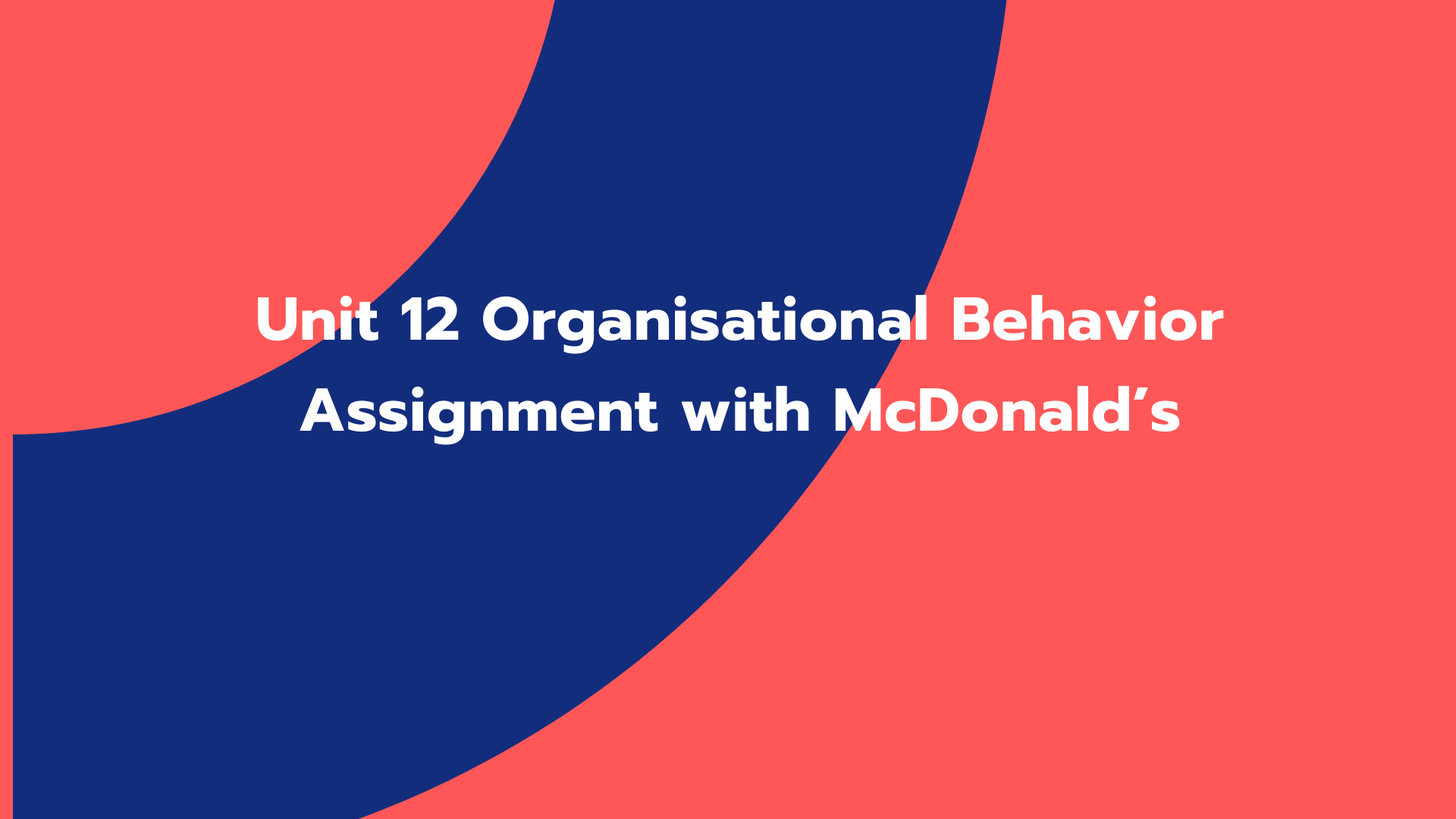 Unit 12 Organisational Behavior Assignment with McDonald's