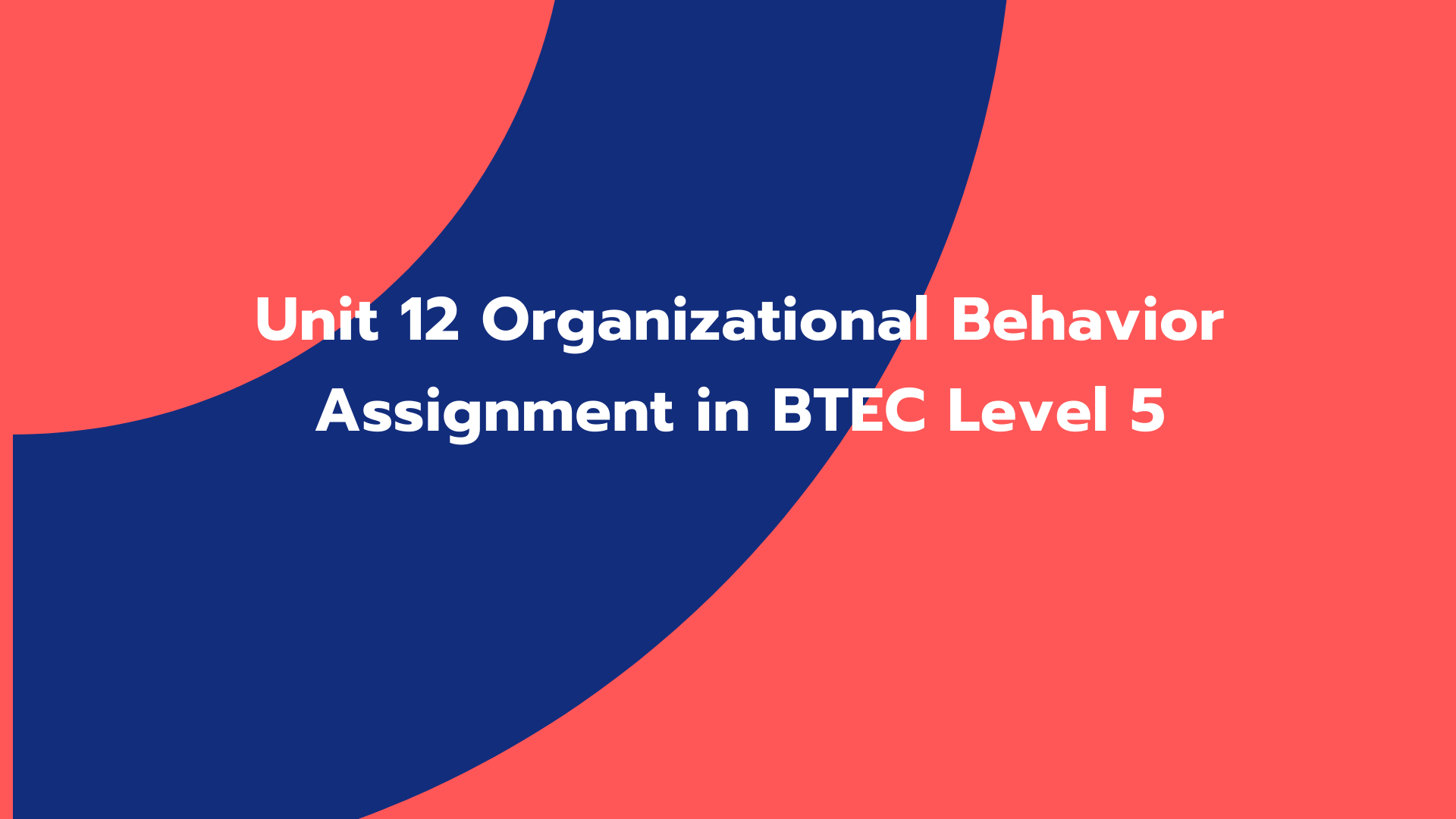 Unit 12 Organizational Behavior Assignment in BTEC Level 5