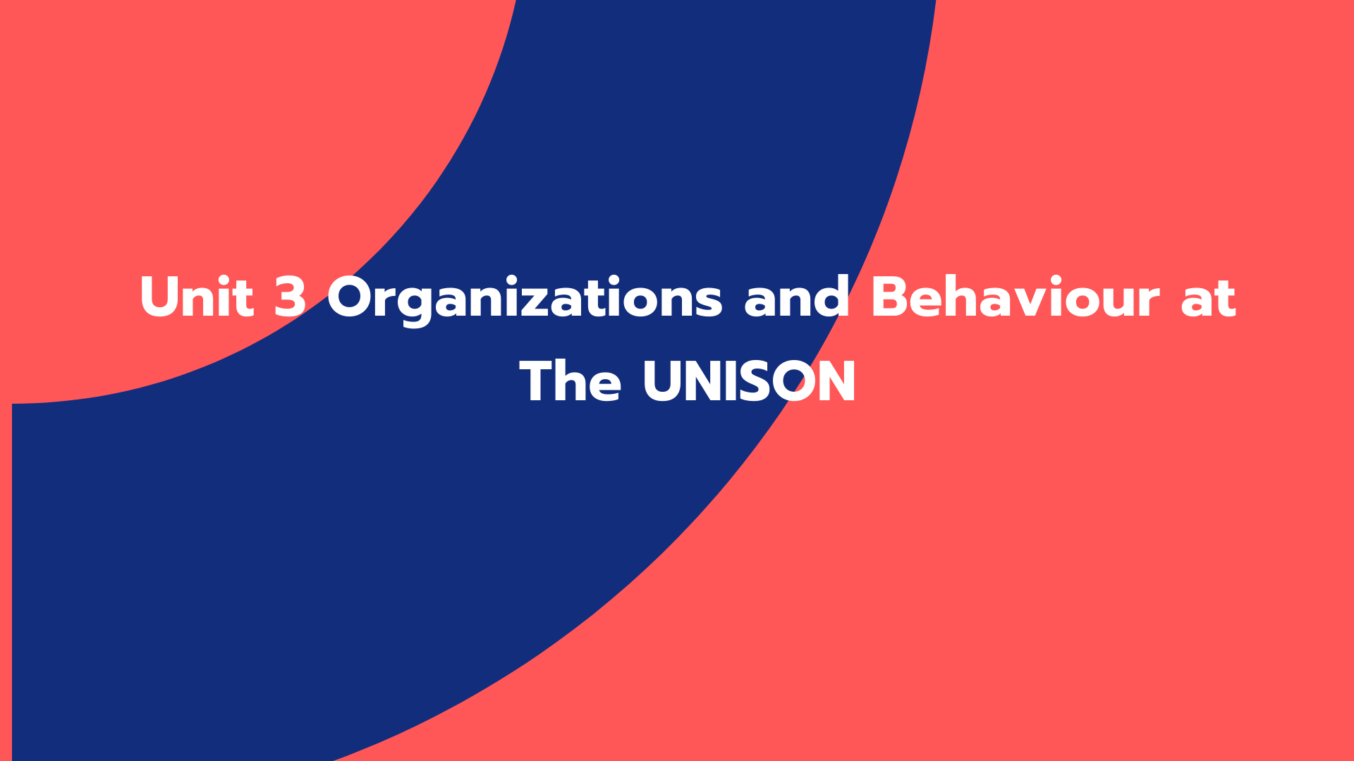 Unit 3 Organizations and Behaviour at The UNISON