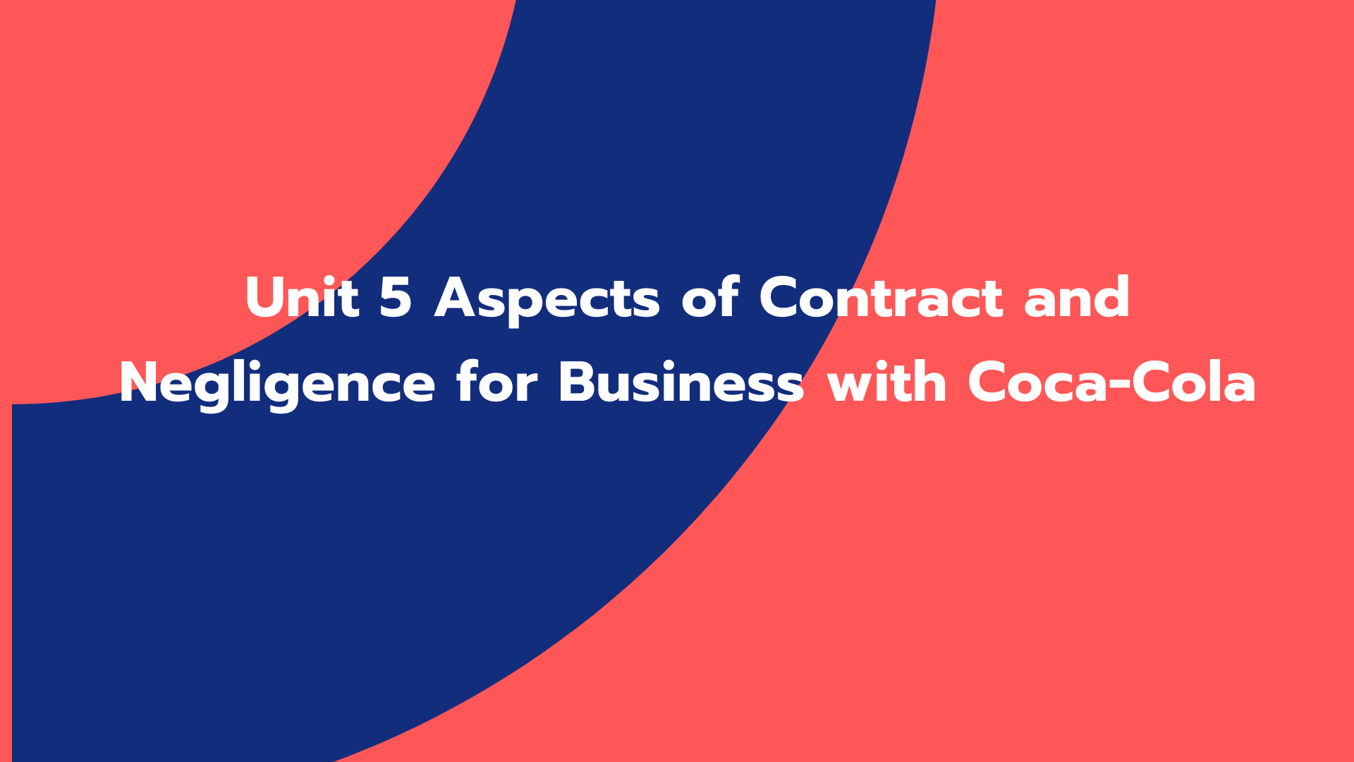 Unit 5 Aspects of Contract and Negligence for Business with Coca-Cola