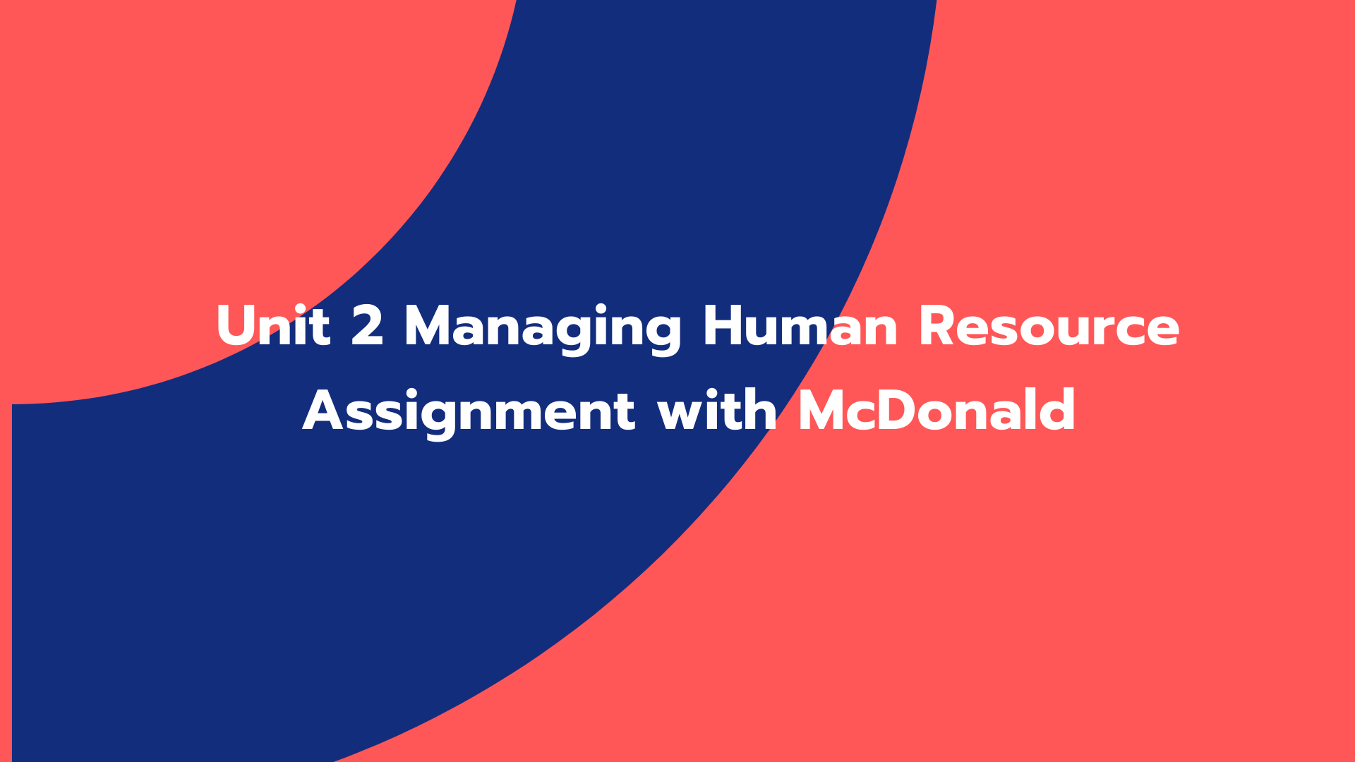 Unit 2 Managing Human Resource Assignment with McDonald