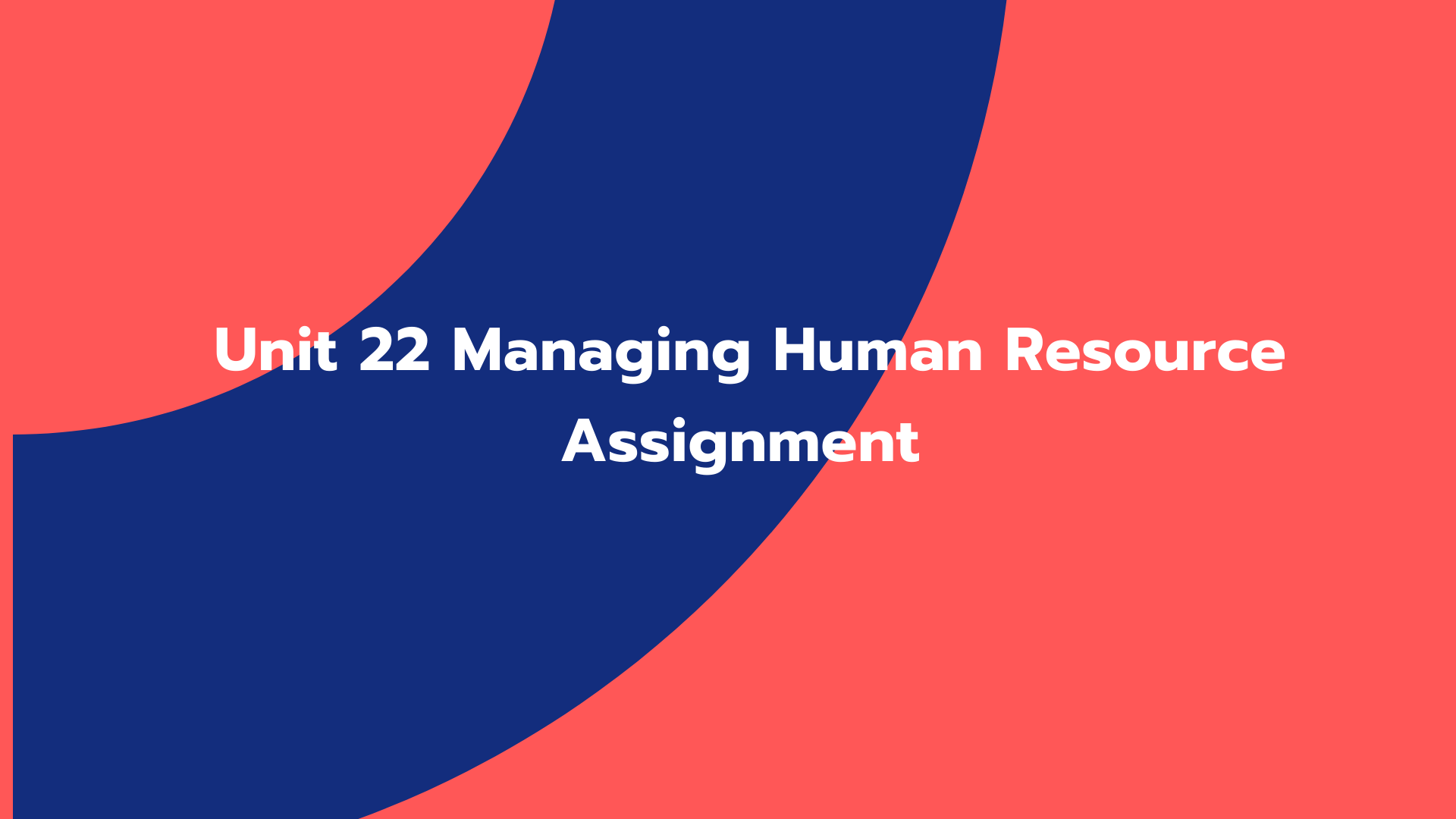 Unit 22 Managing Human Resource Assignment