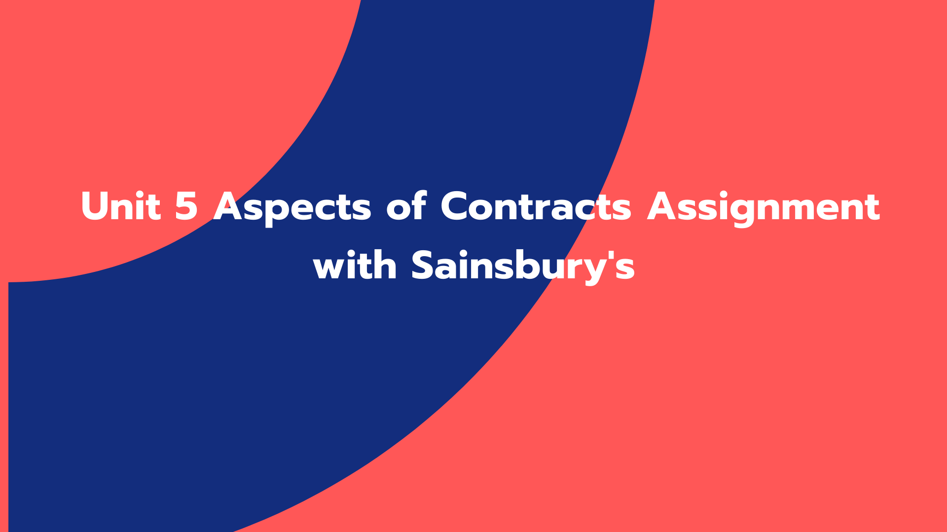 Unit 5 Aspects of Contracts Assignment with Sainsbury's