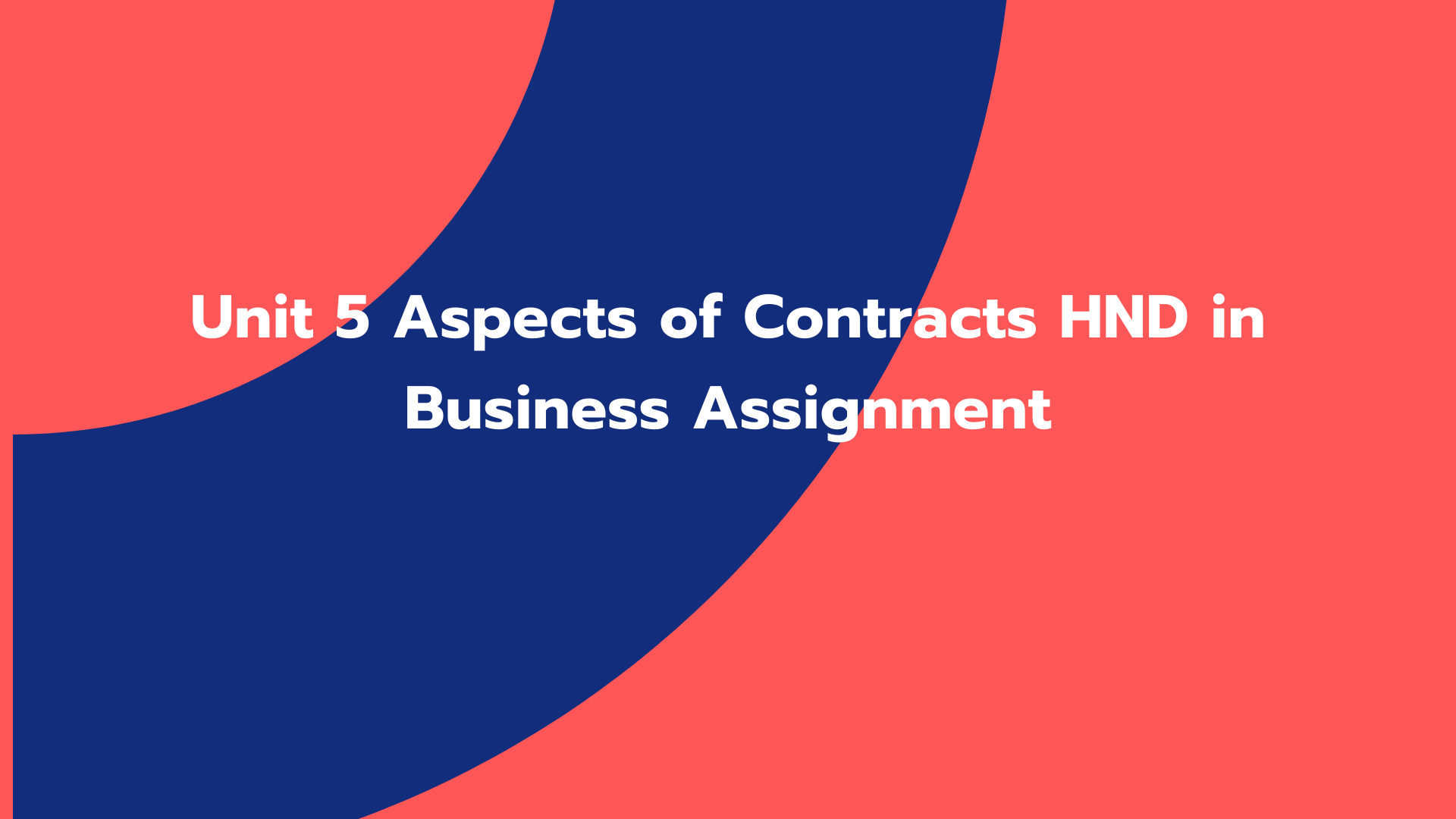 Unit 5 Aspects of Contracts HND in Business Assignment