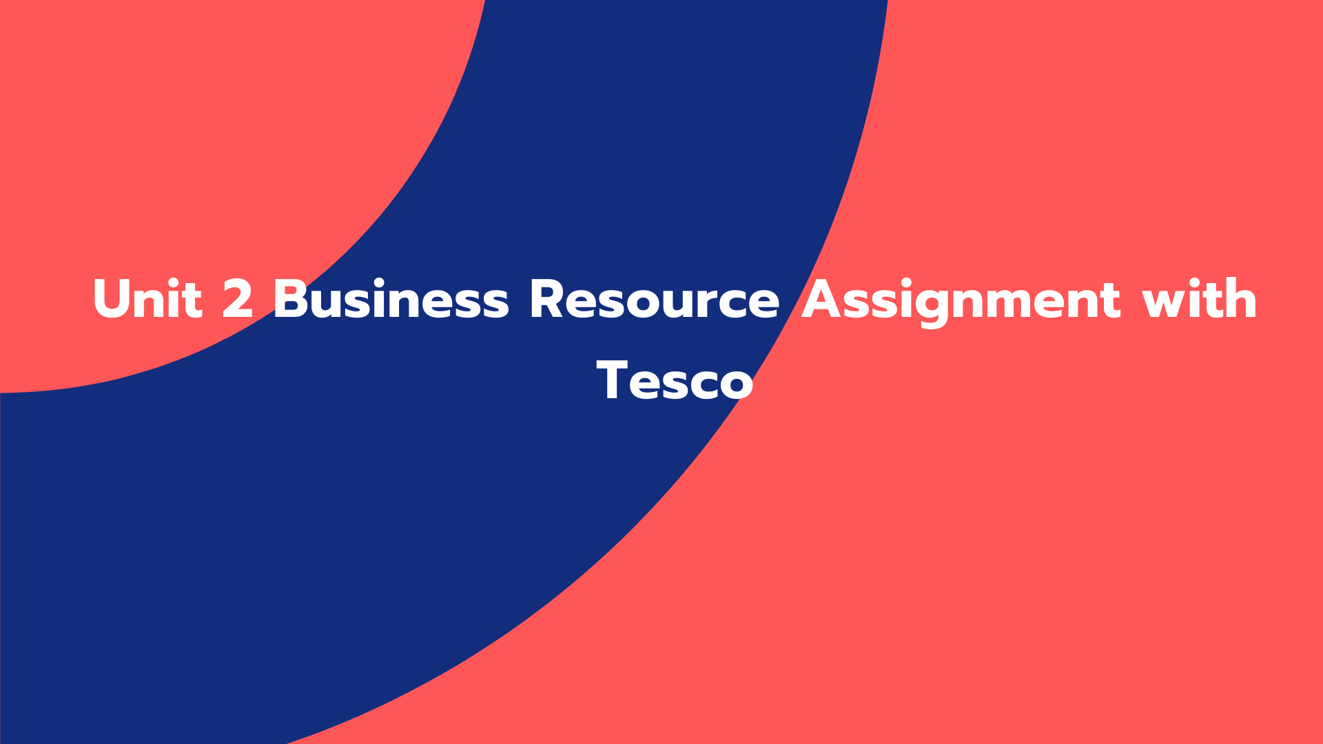 Unit 2 Business Resource Assignment with Tesco