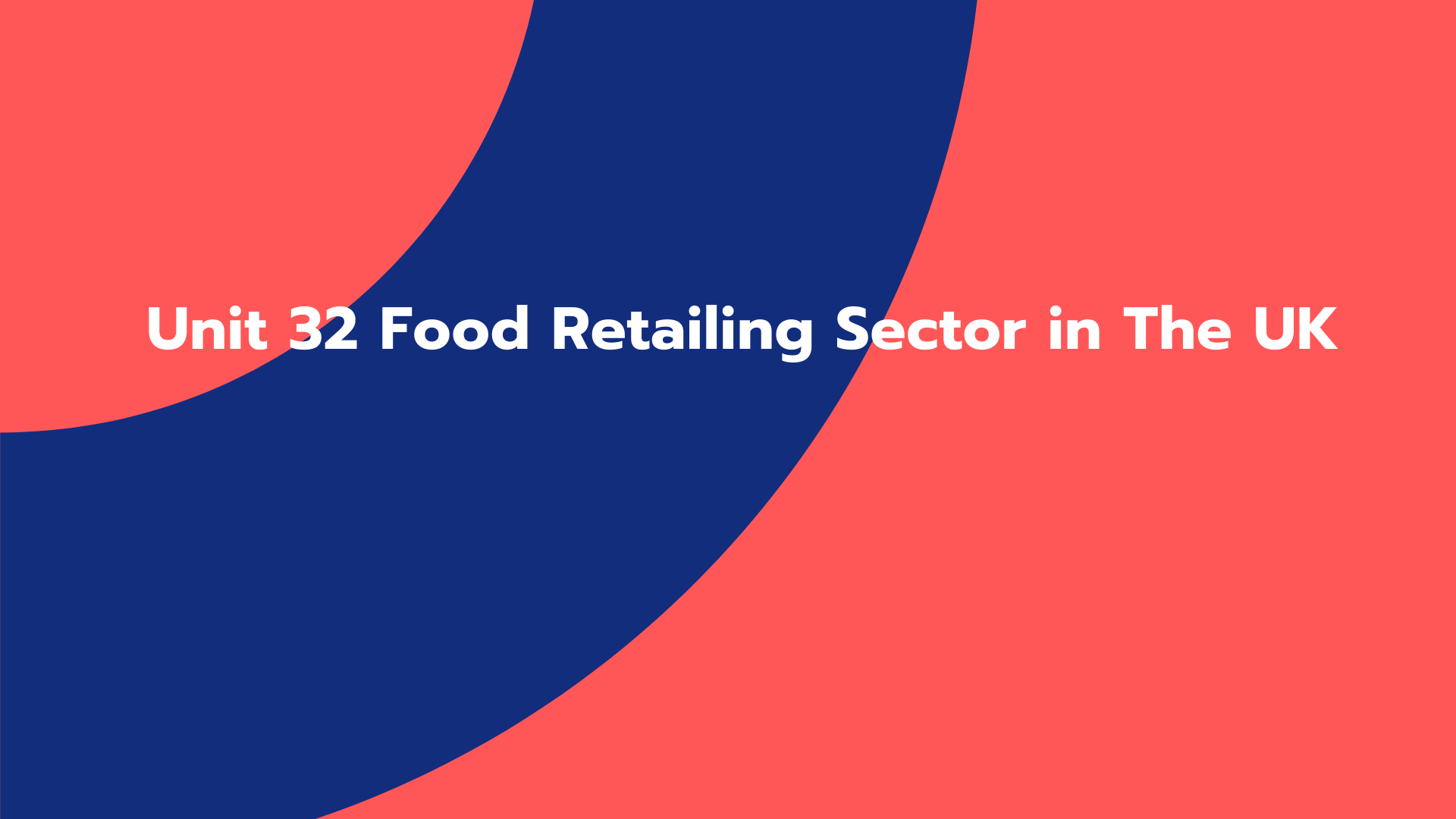 Unit 32 Food Retailing Sector in The UK