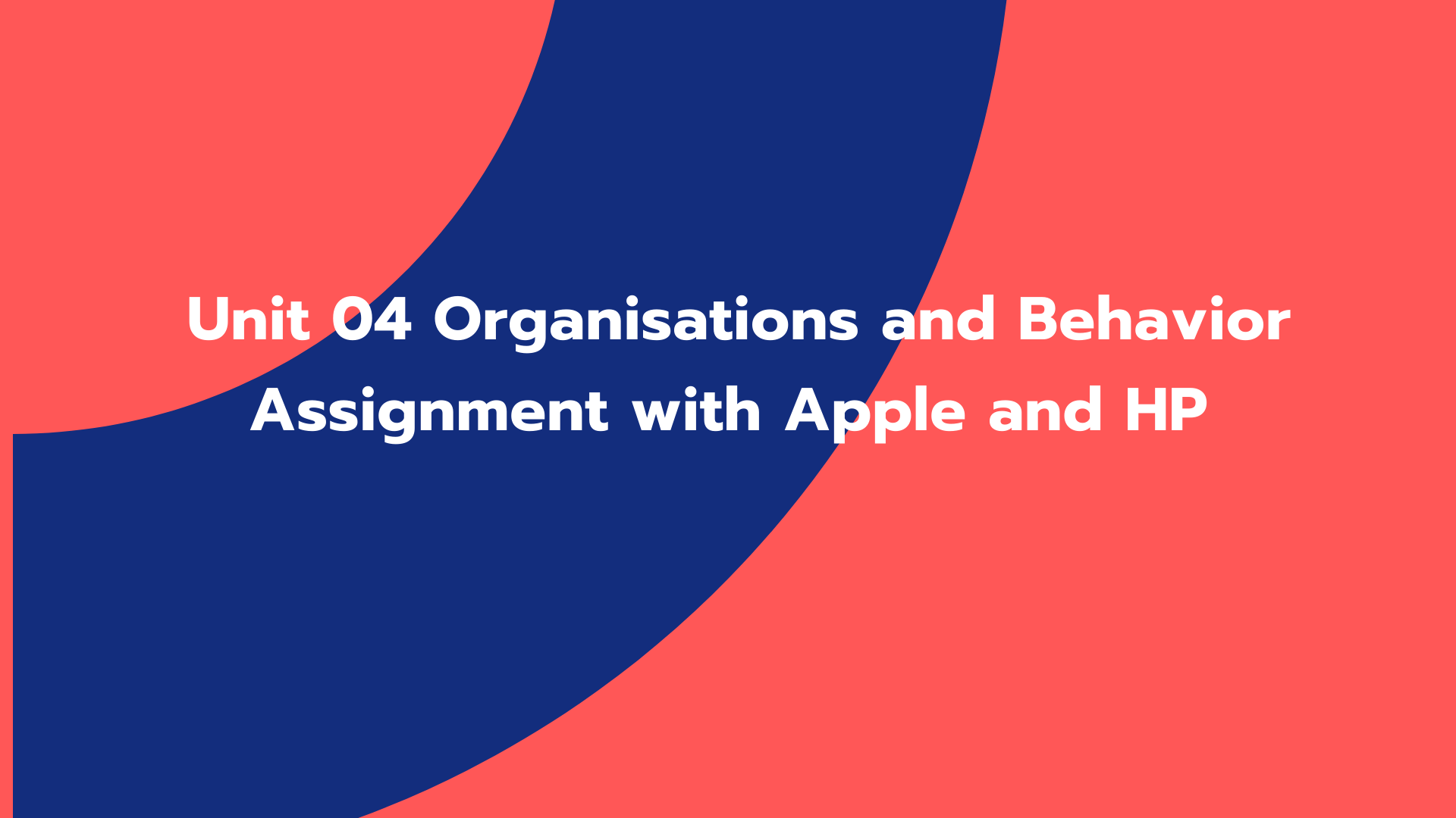 Unit 04 Organisations and Behavior Assignment with Apple and HP