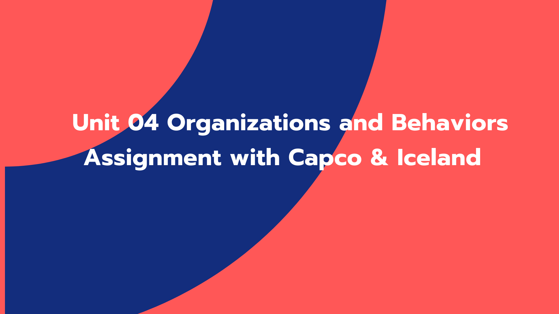 Unit 04 Organizations and Behaviors Assignment with Capco & Iceland