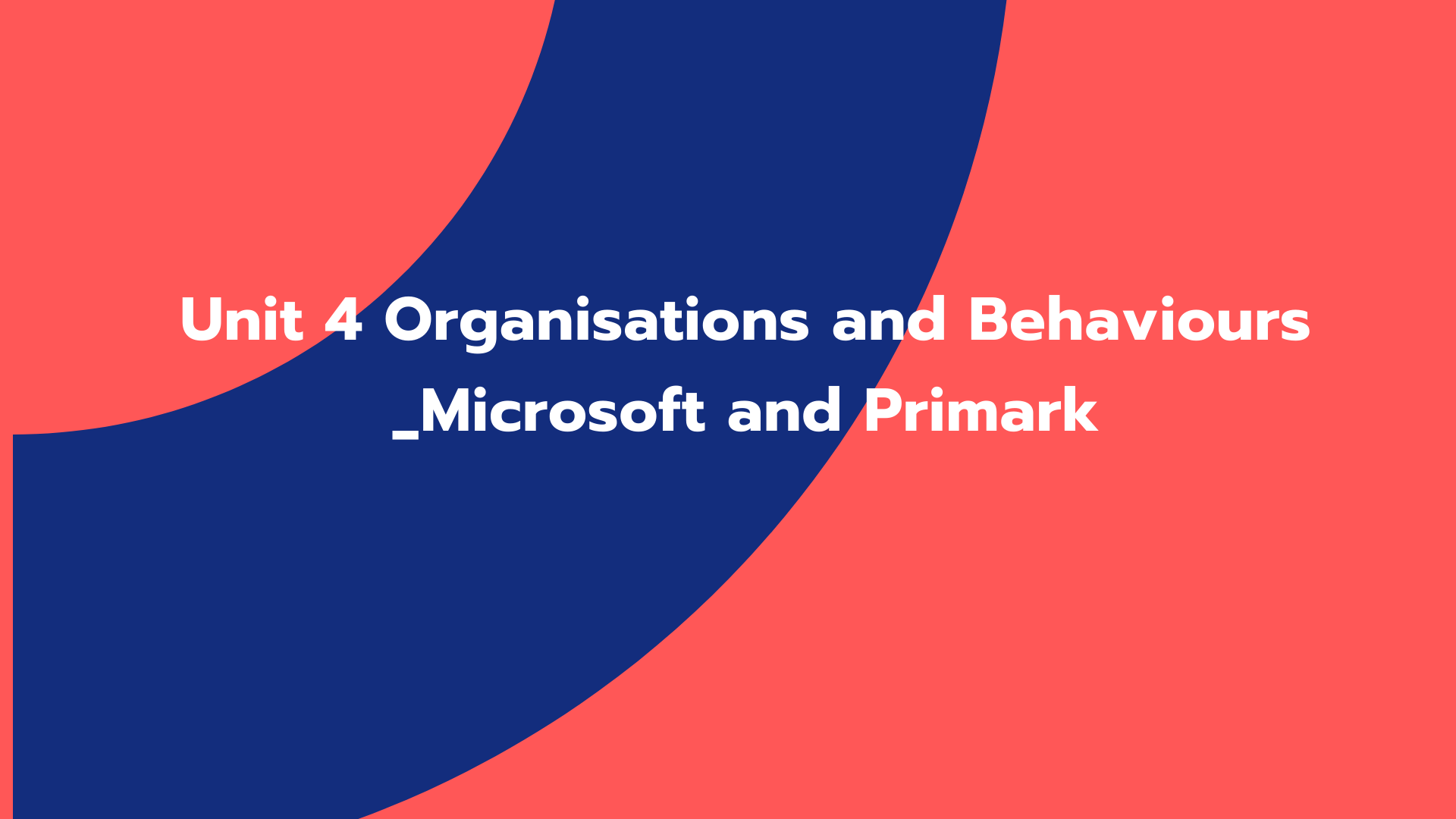 Unit 4 Organisations and Behaviours _Microsoft and Primark