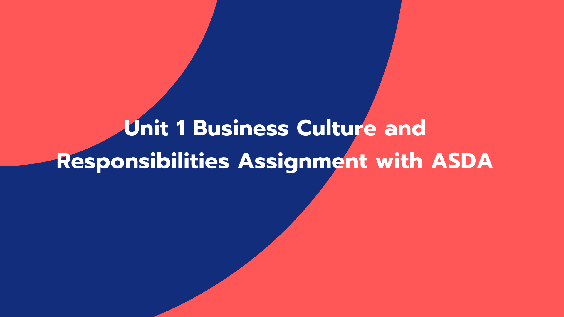 Unit 1 Business Culture and Responsibilities Assignment with ASDA