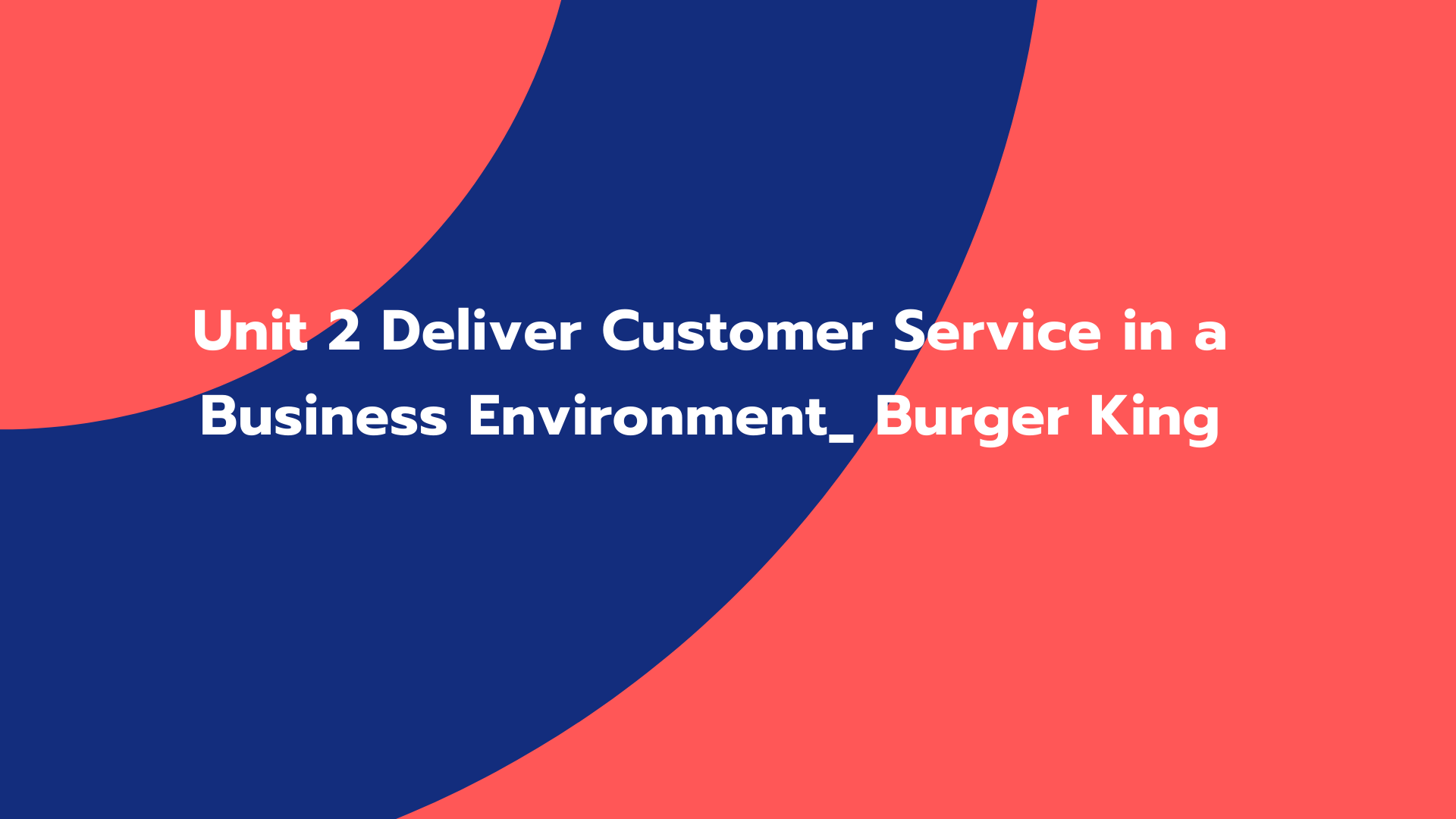 Unit 2 Deliver Customer Service in a Business Environment_ Burger King