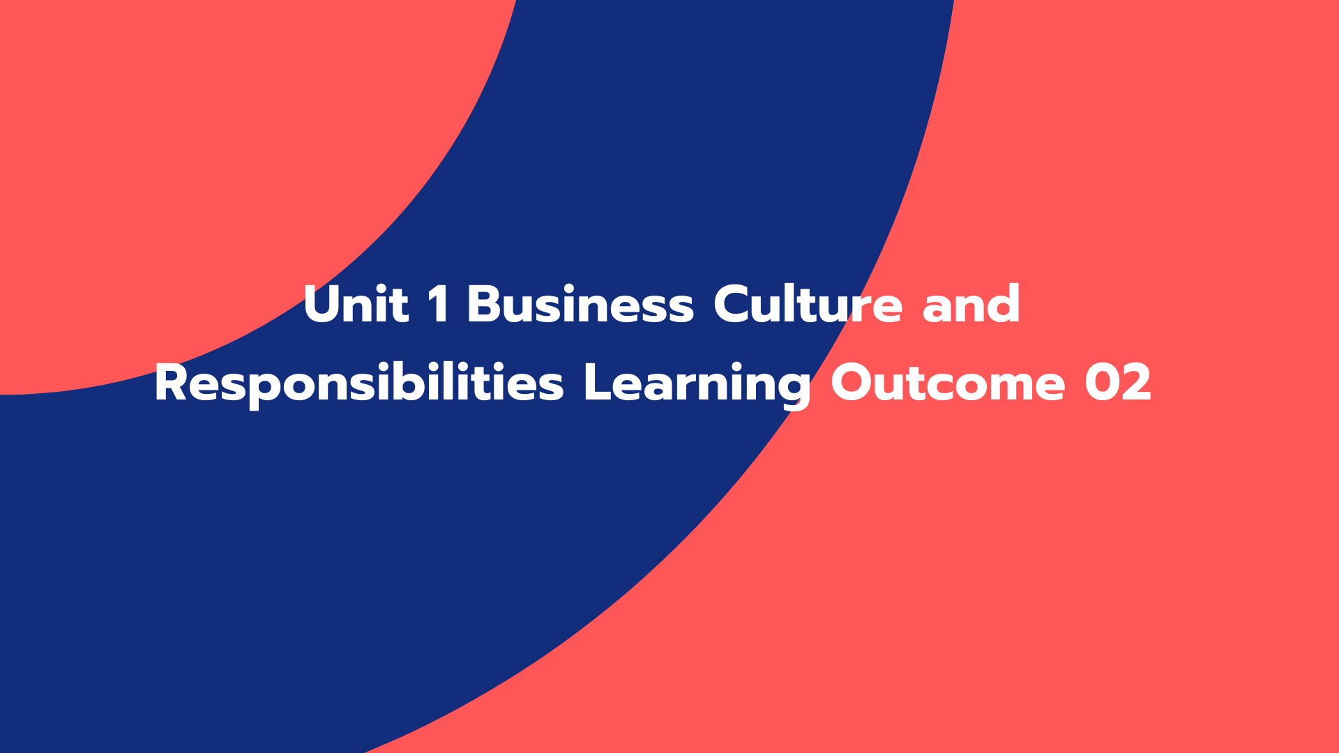 Unit 1 Business Culture and Responsibilities Learning Outcome 02