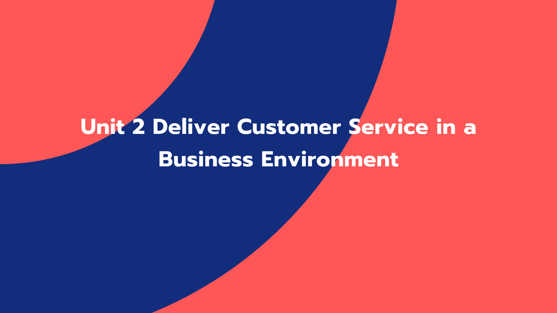 Unit 2 Deliver Customer Service in a Business Environment
