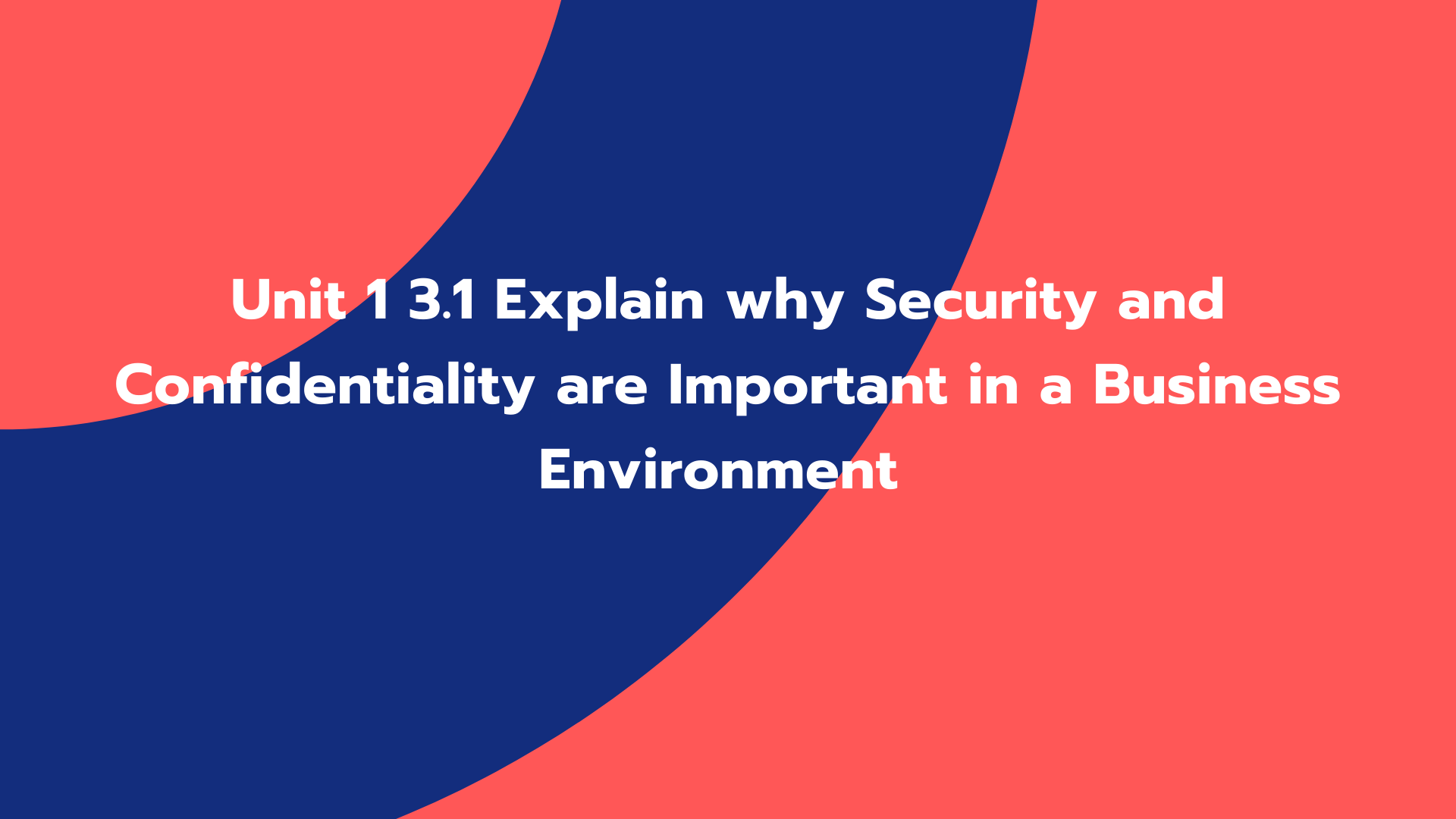 Unit 1 3.1 Explain why Security and Confidentiality are Important in a Business Environment