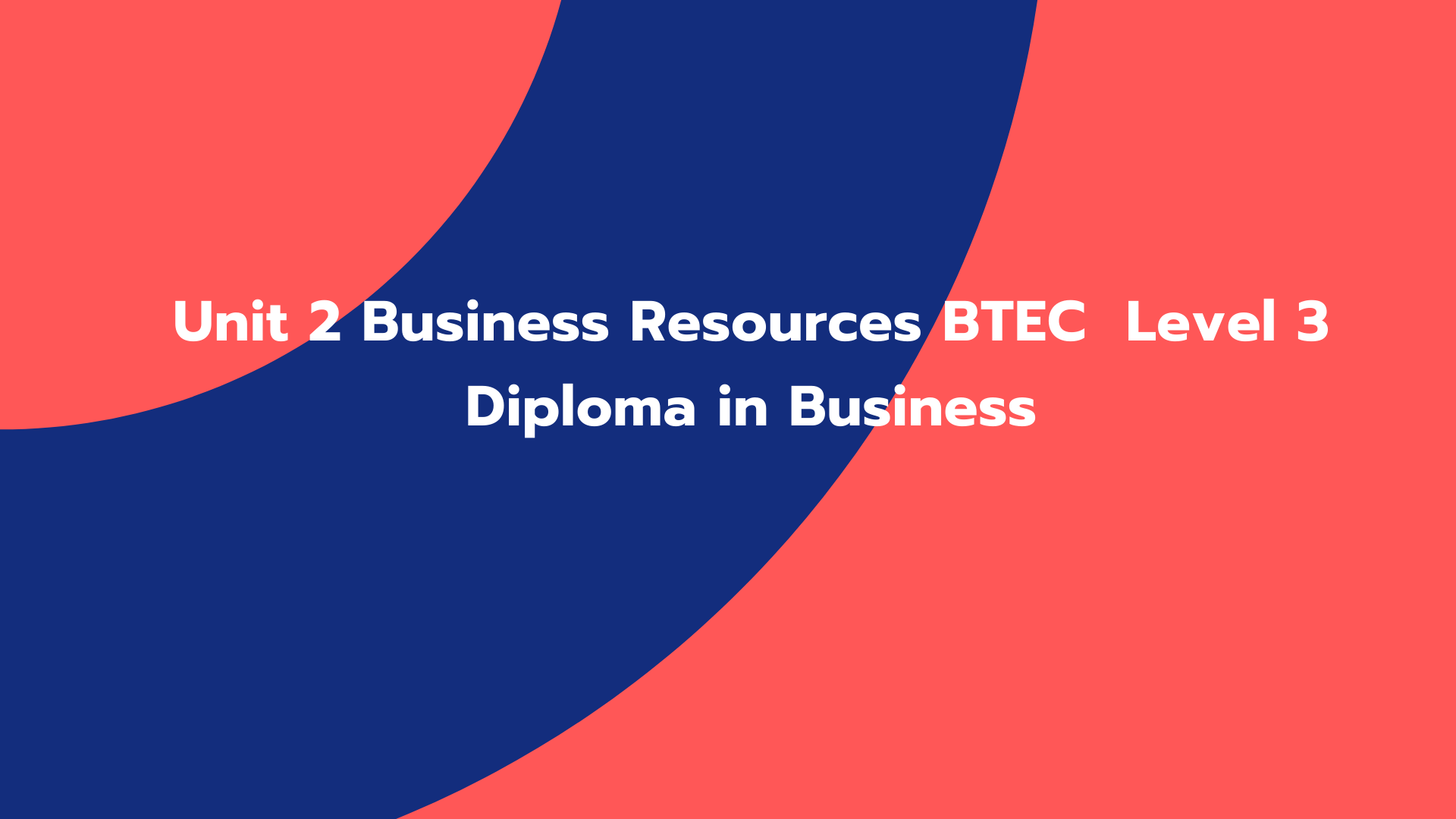 Unit 2 Business Resources BTEC Level 3 Diploma in Business