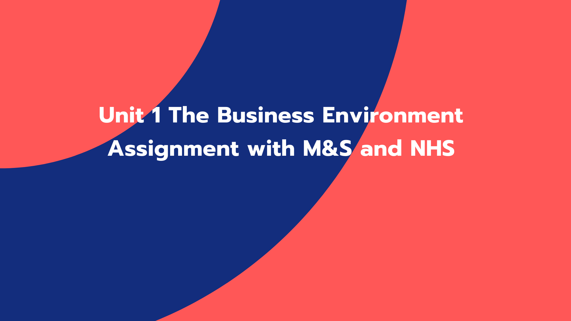 Unit 1 The Business Environment Assignment with M&S and NHS