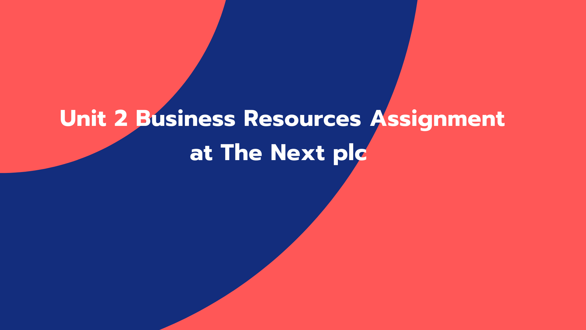 Unit 2 Business Resources Assignment at The Next plc