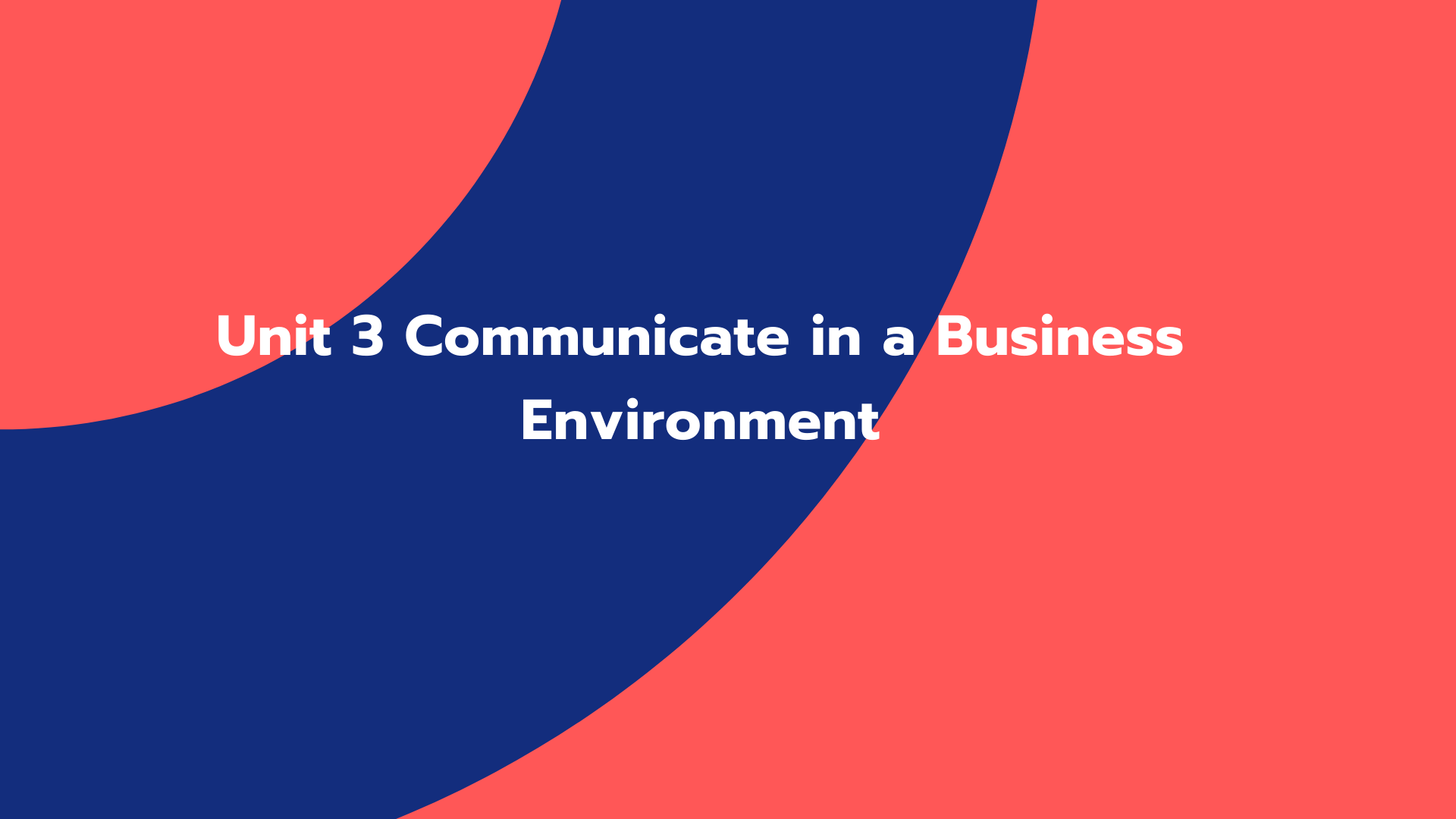 Unit 3 Communicate in a Business Environment