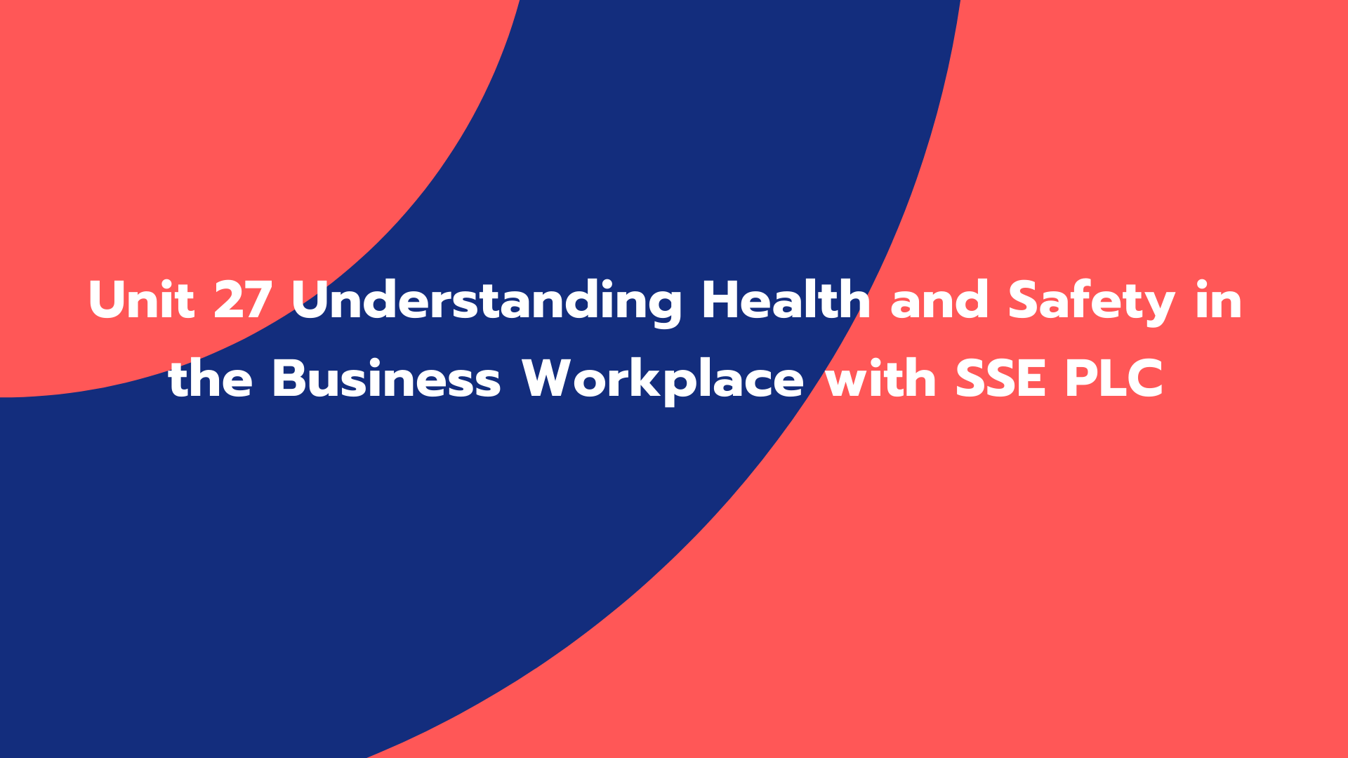 Unit 27 Understanding Health and Safety in the Business Workplace with SSE PLC