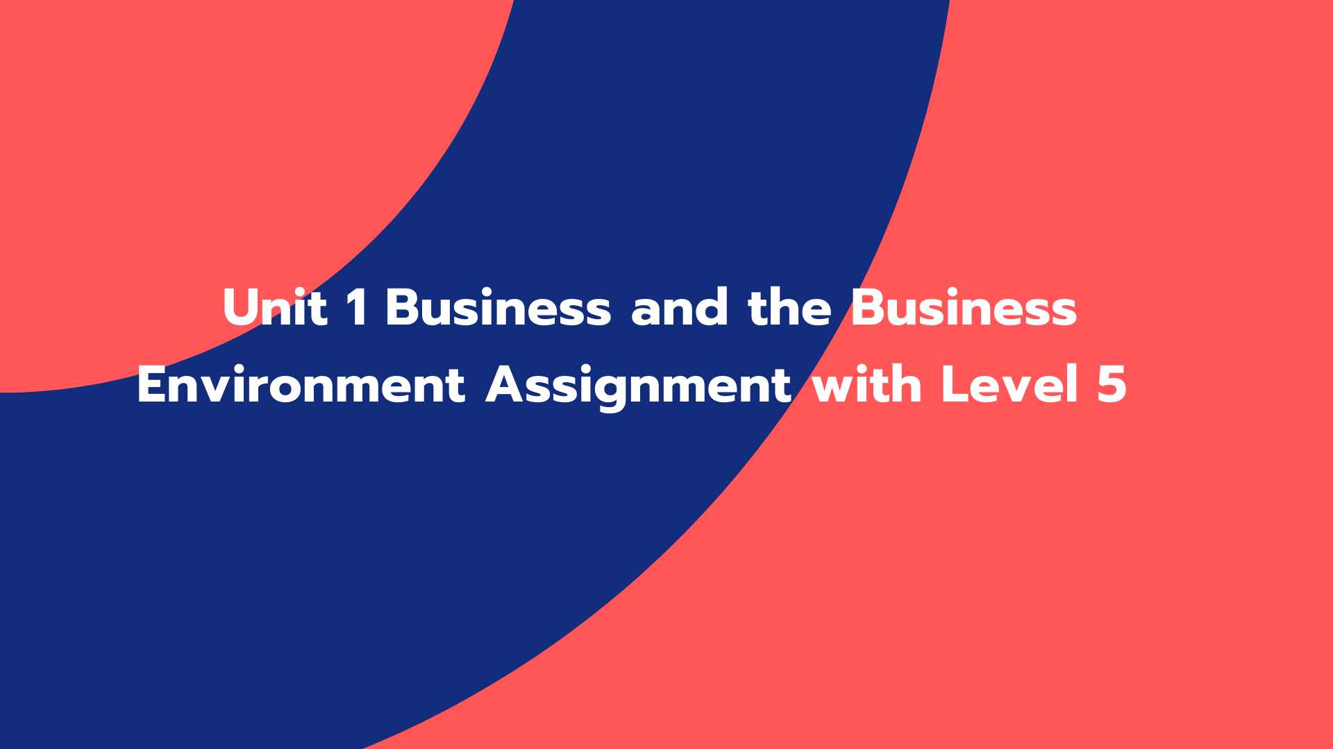 Unit 1 Business and the Business Environment Assignment with Level 5