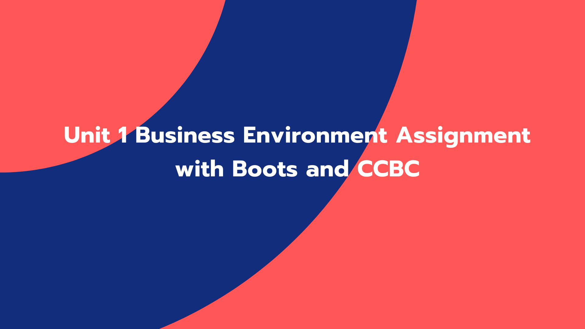 Unit 1 Business Environment Assignment with Boots and CCBC