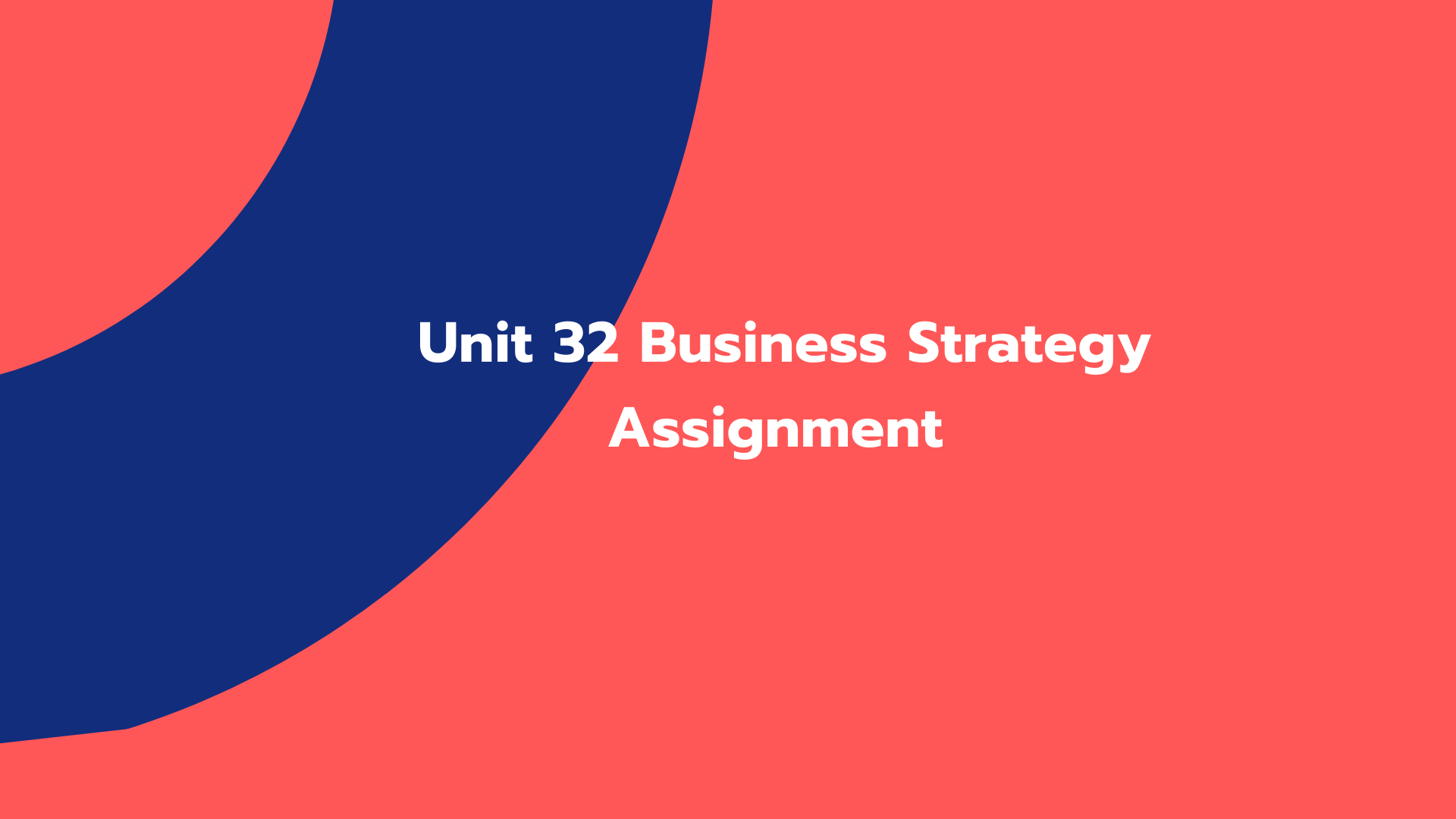 Unit 32 Business Strategy Assignment