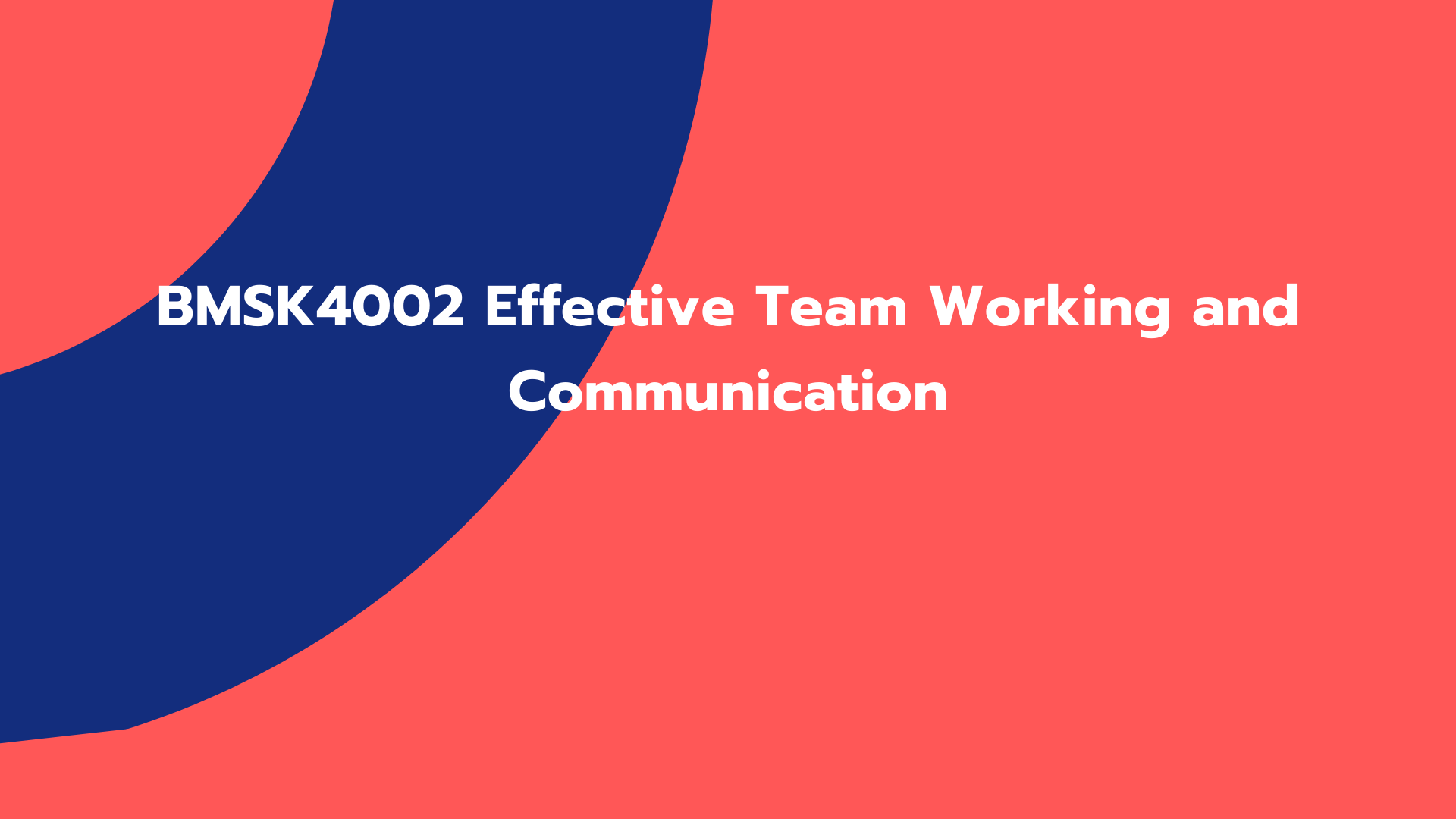 BMSK4002 Effective Team Working and Communication